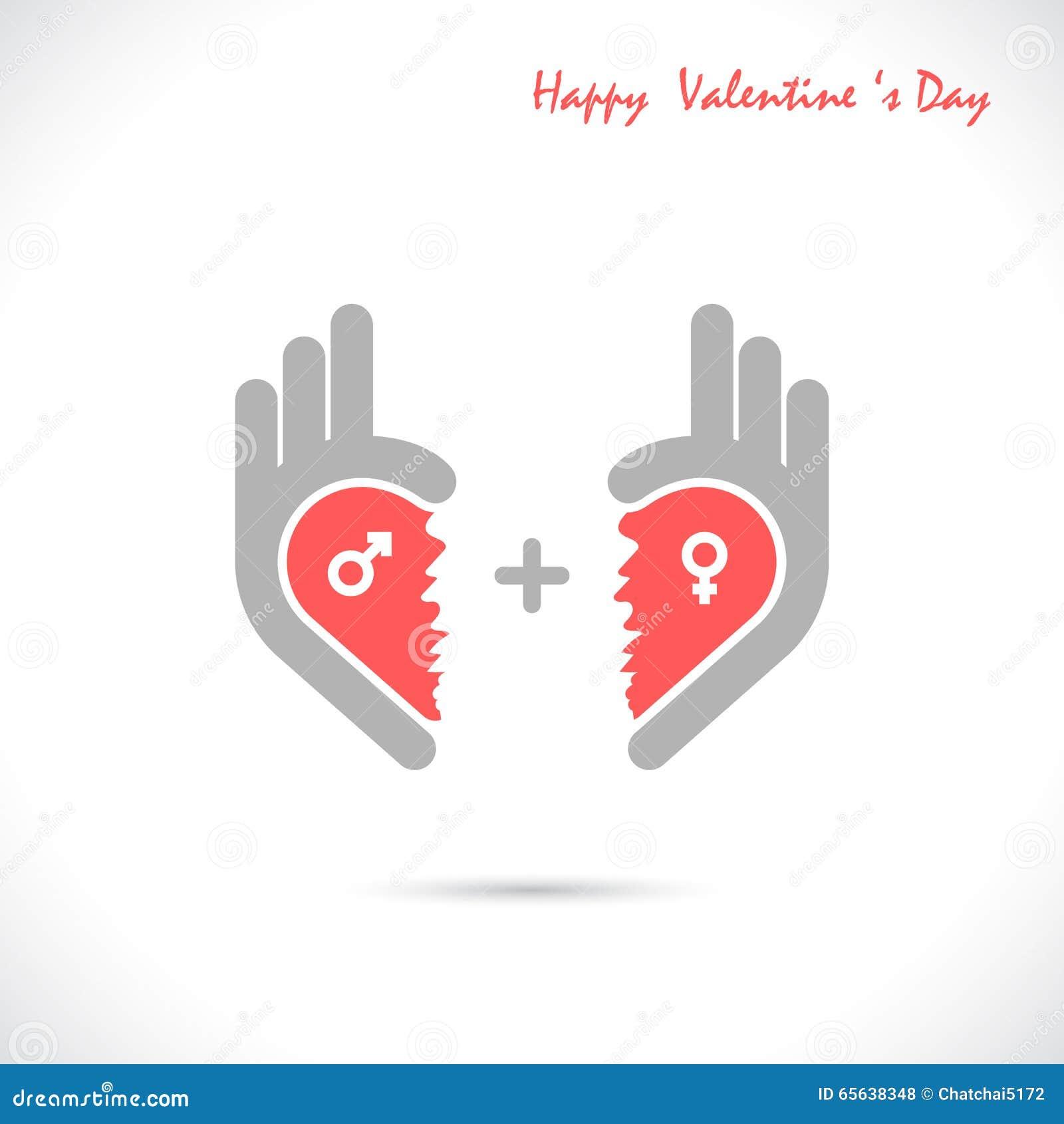 Le logo créatif d abrégé sur forme de main et de coeur conçoivent Symbo correct de main
