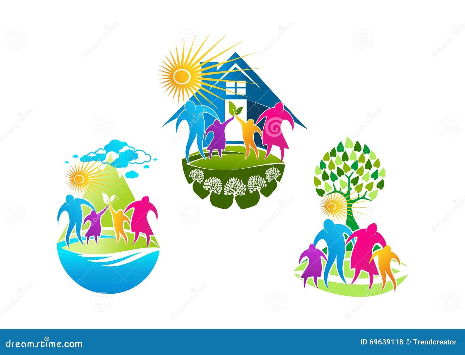 Le logo de famille, le symbole de soins à domicile, l icône de personnes de bien-être et le concept de la famille sain conçoivent