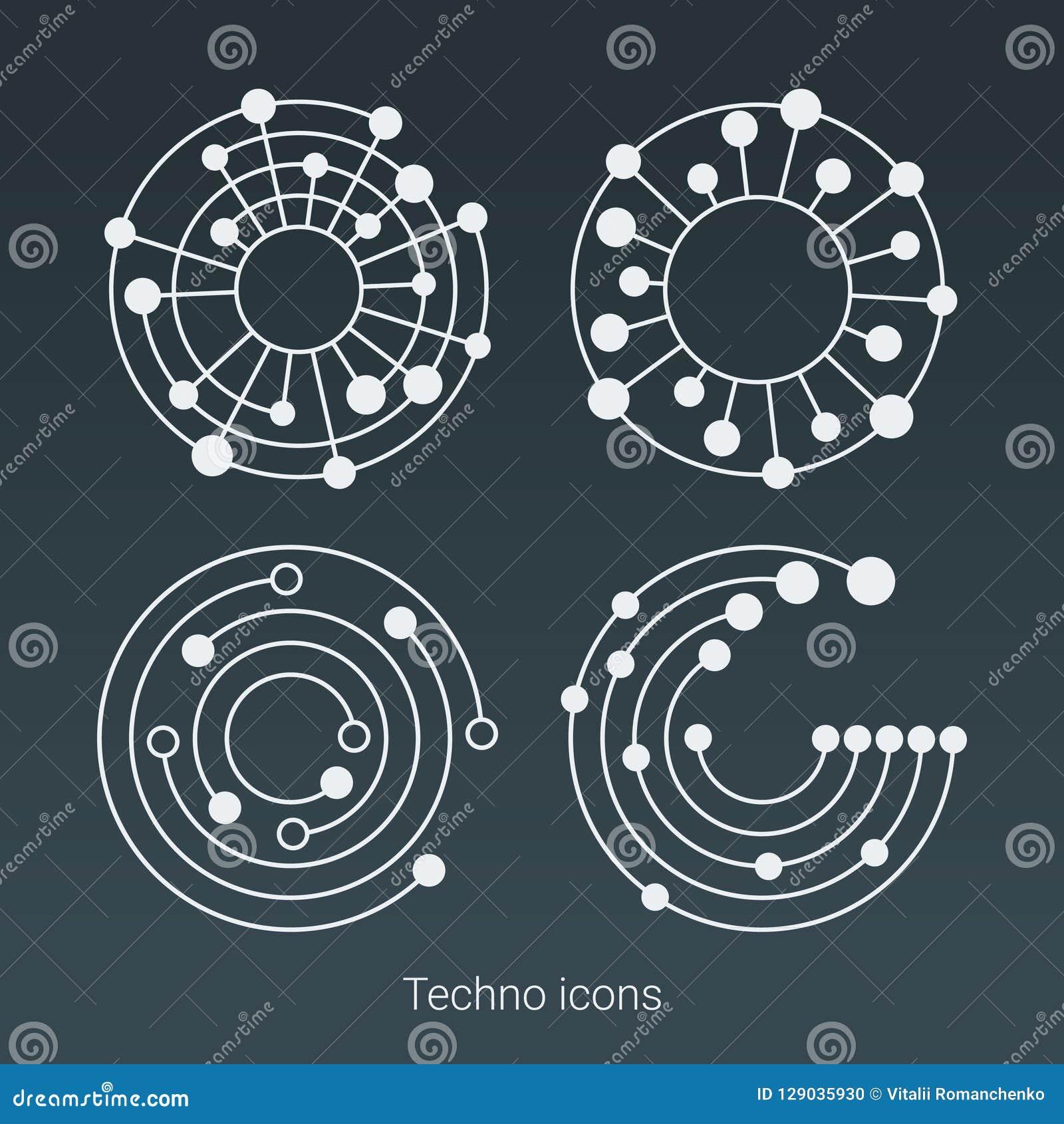 Le logo, l ordinateur et les données de technologie ont rapporté des affaires, de pointe et innovateur Structure de connexion Gra