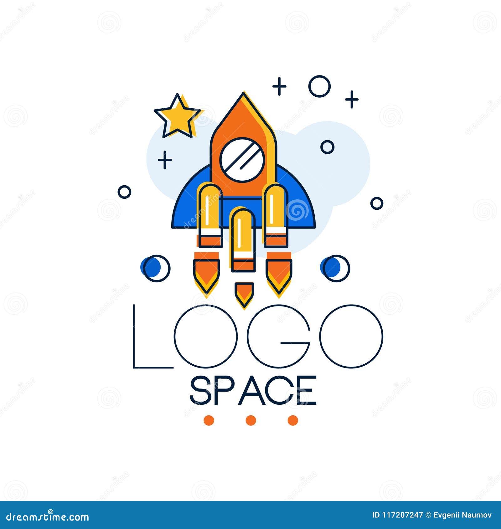Le logo, la mission spatiale et l exploration de l espace marquent l illustration de vecteur sur un fond blanc