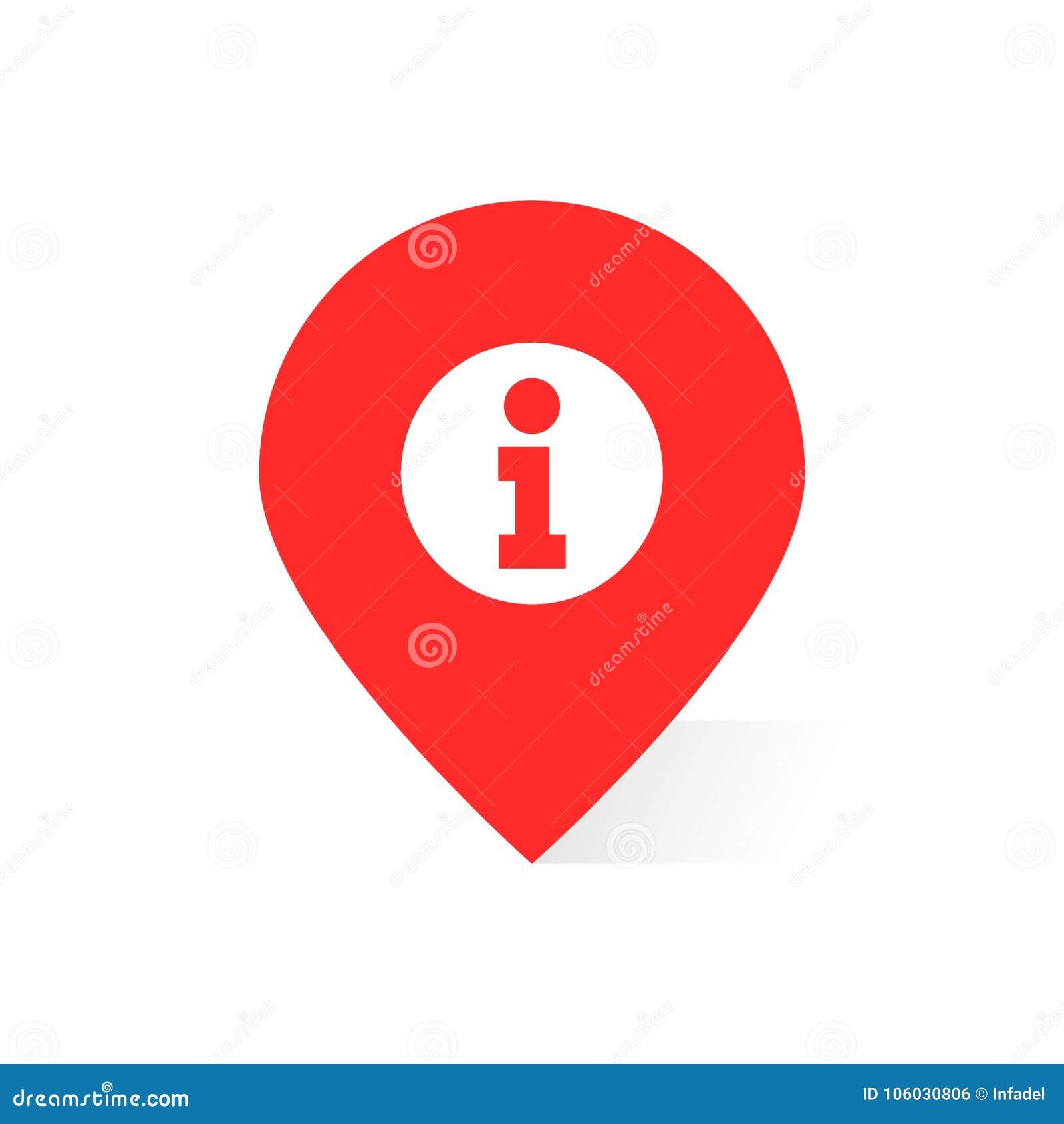 Le logo rouge de l information aiment la goupille ou le geotag de carte