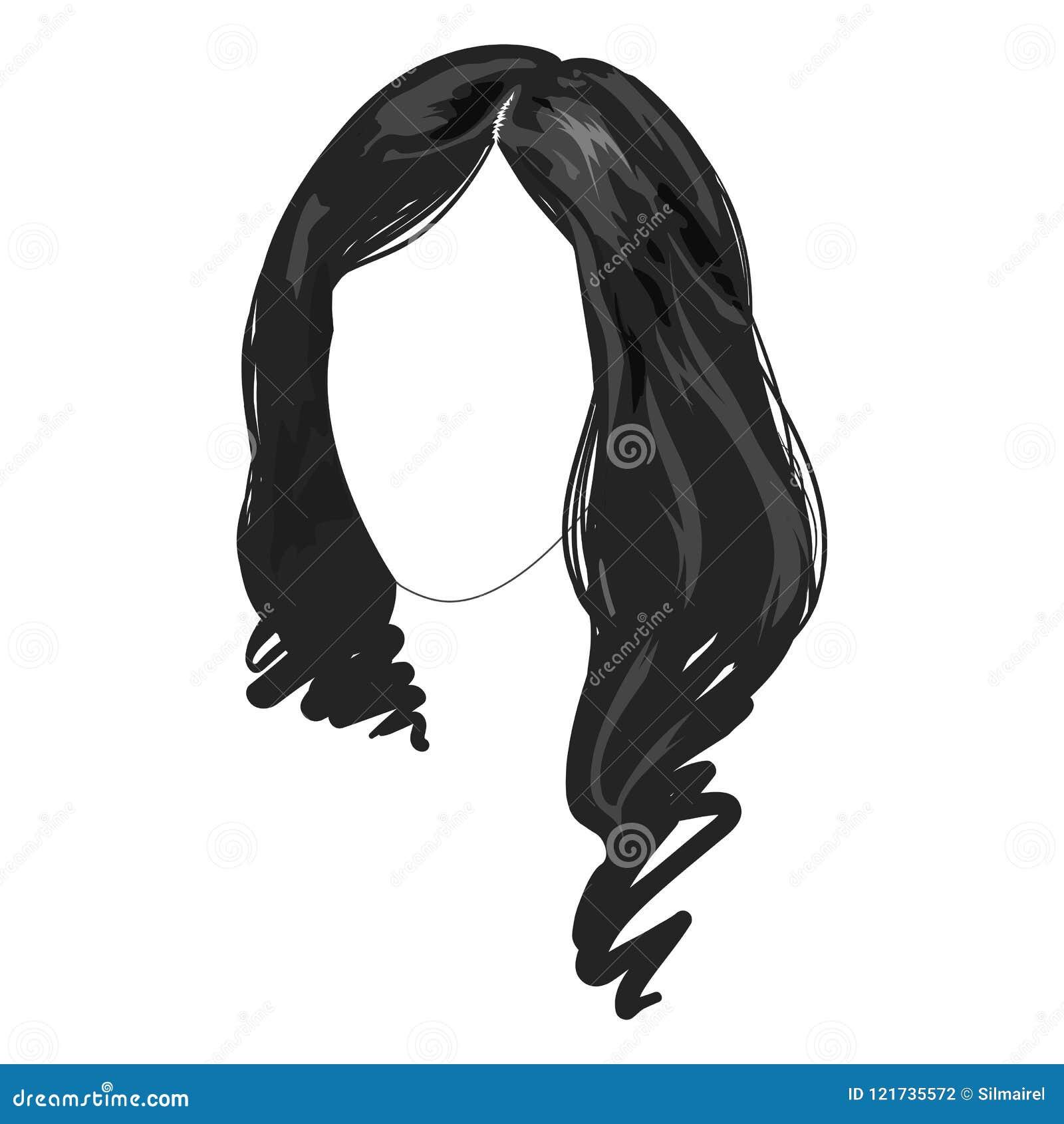 Le Long Echantillon Femelle Monochrome De Mode De Visage De Cheveux