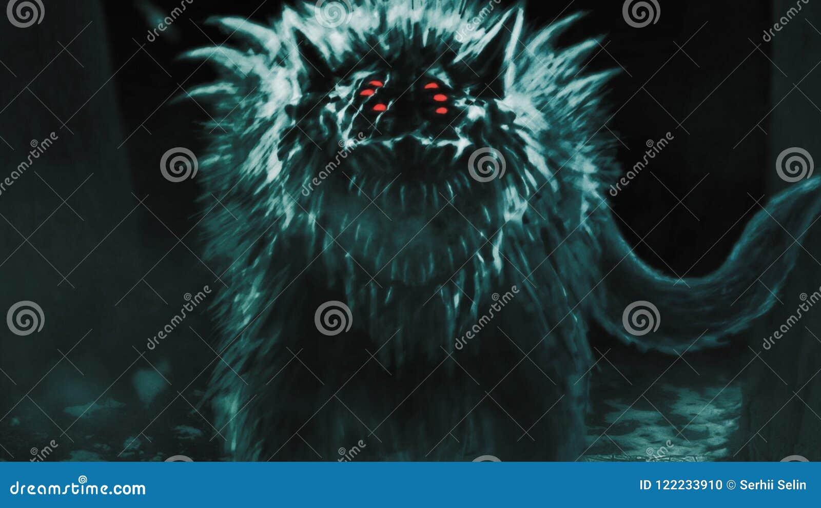 Le loup étranger émerge de la forêt foncée et ouvre sa bouche