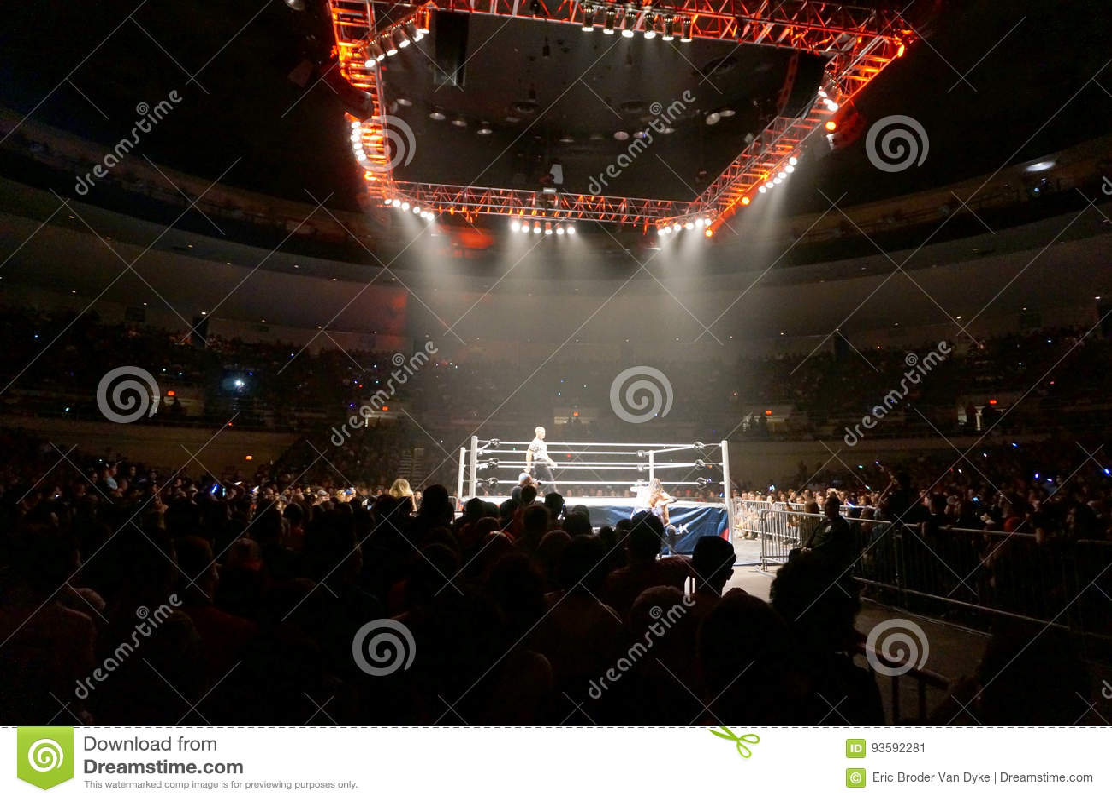 Le lutteur Dolph Ziggler et Baron Corbin de WWE luttent en dehors de du ri