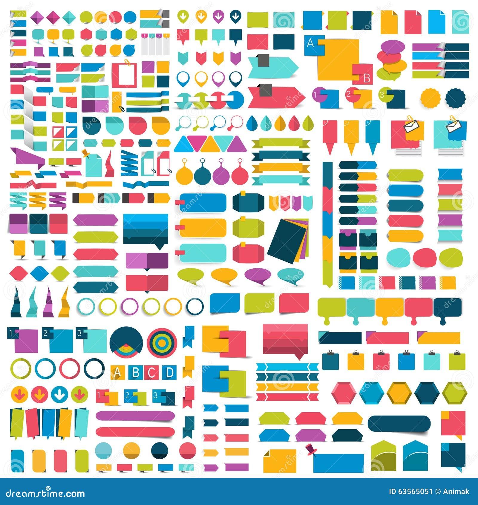 Le méga a placé des éléments plats de conception d infographics, plans, diagrammes, boutons, bulles de la parole, autocollants