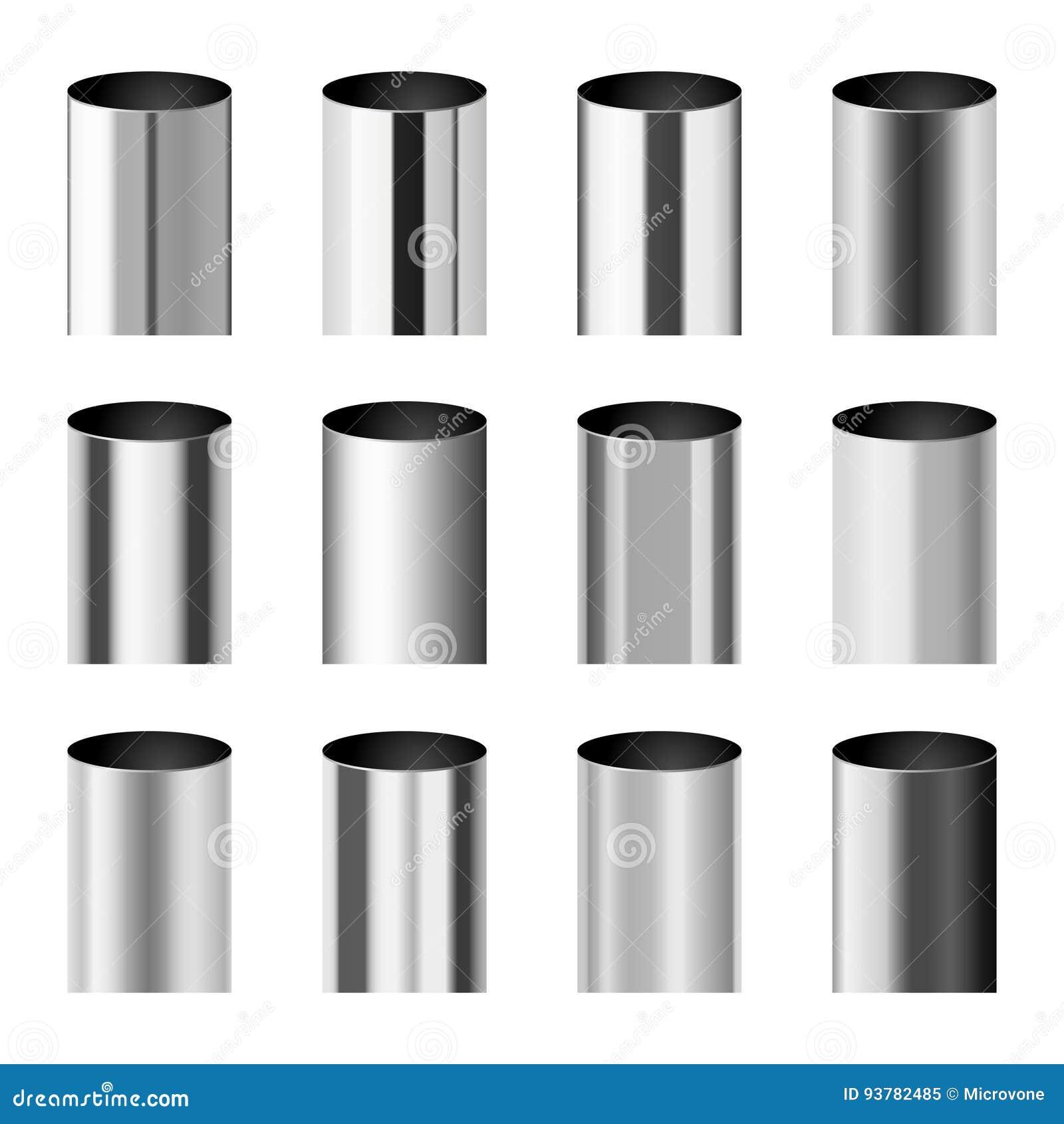 Le métal de Chrome a poli des gradients correspondant à l ensemble de vecteur de tuyau de cylindre