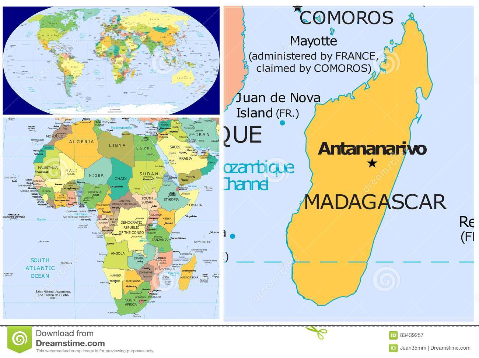 Carte Madagascar Monde.Le Madagascar Et Monde Illustration Stock Illustration Du