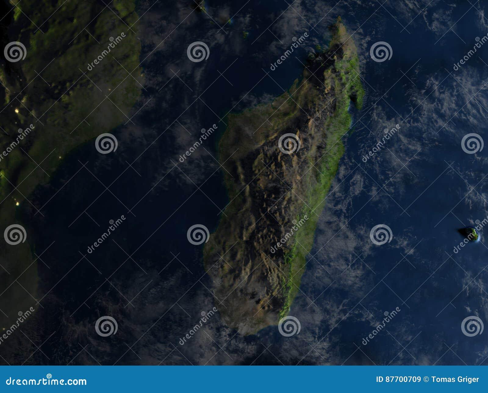 Le Madagascar la nuit sur terre de planète