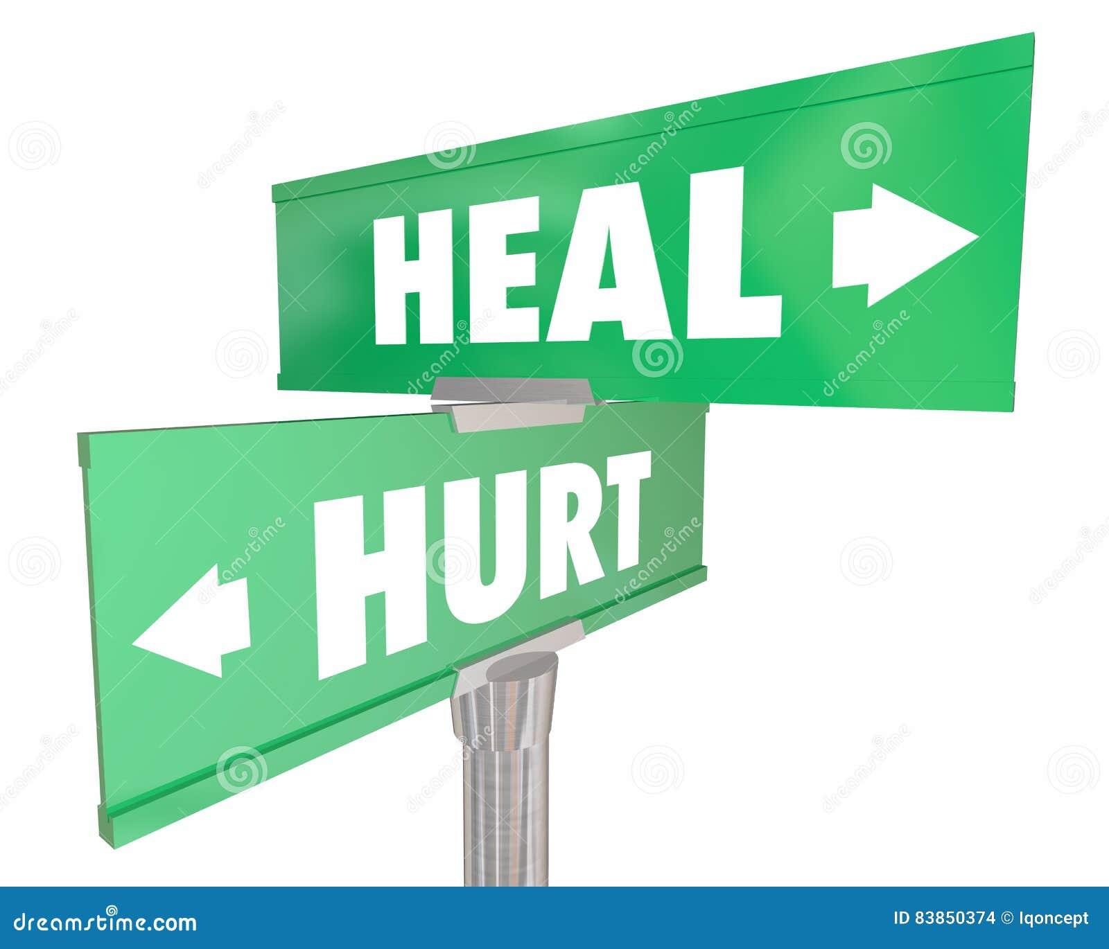 Le mal contre guérissent des plaques de rue de route de la récupération deux de blessure