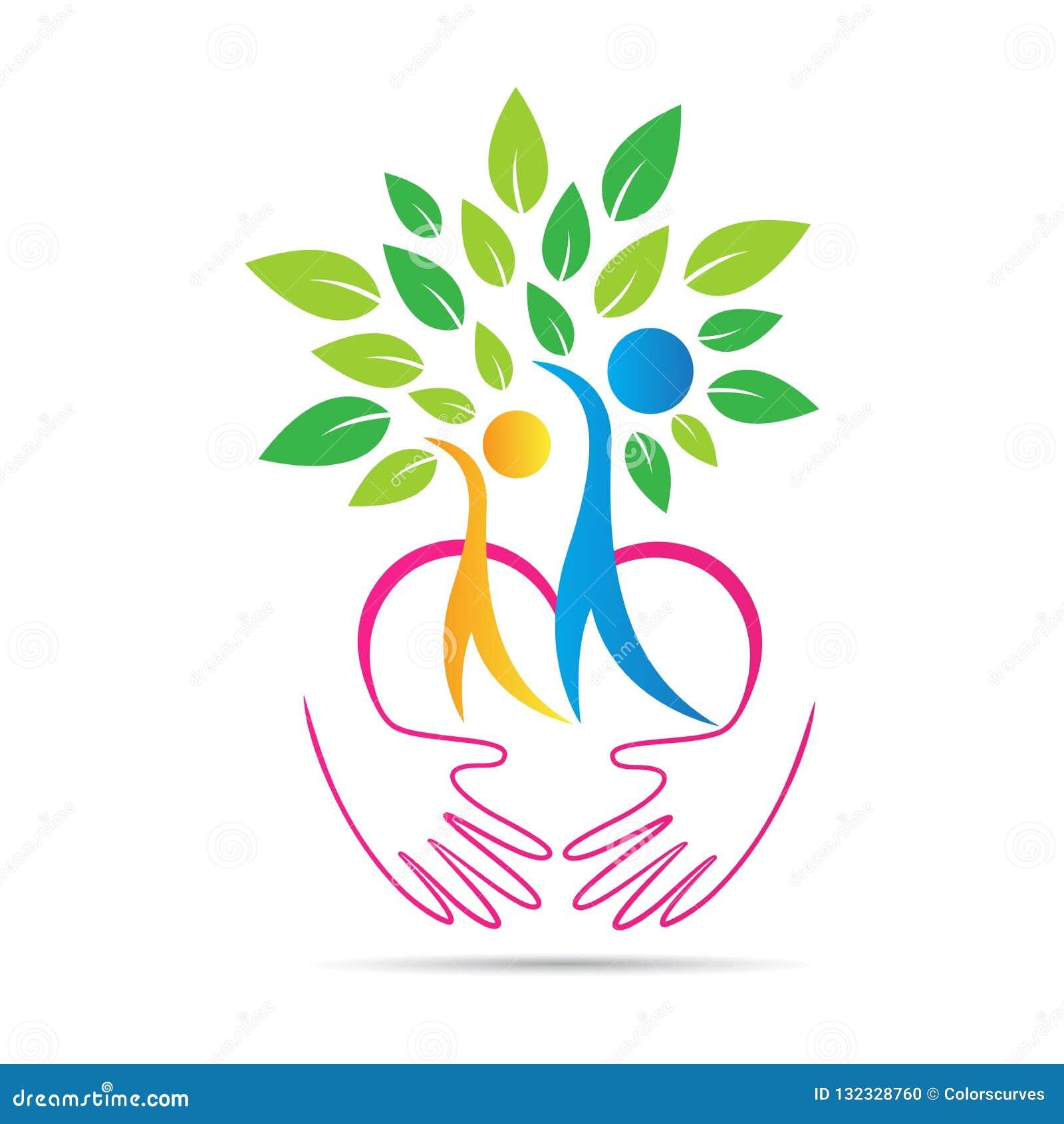 Le mani amichevoli di cura della natura di Eco amano il logo dell albero delle coppie