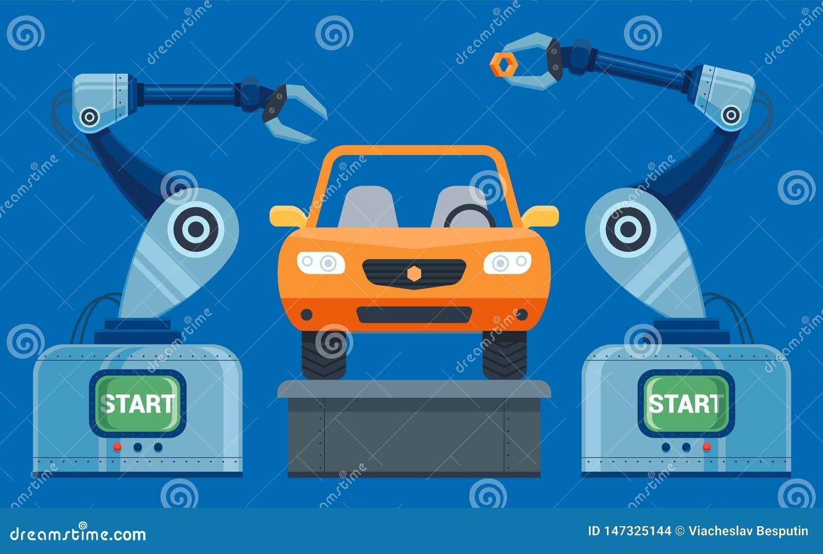 Le mani dei robot si raccolgono sul carrello trasportatore