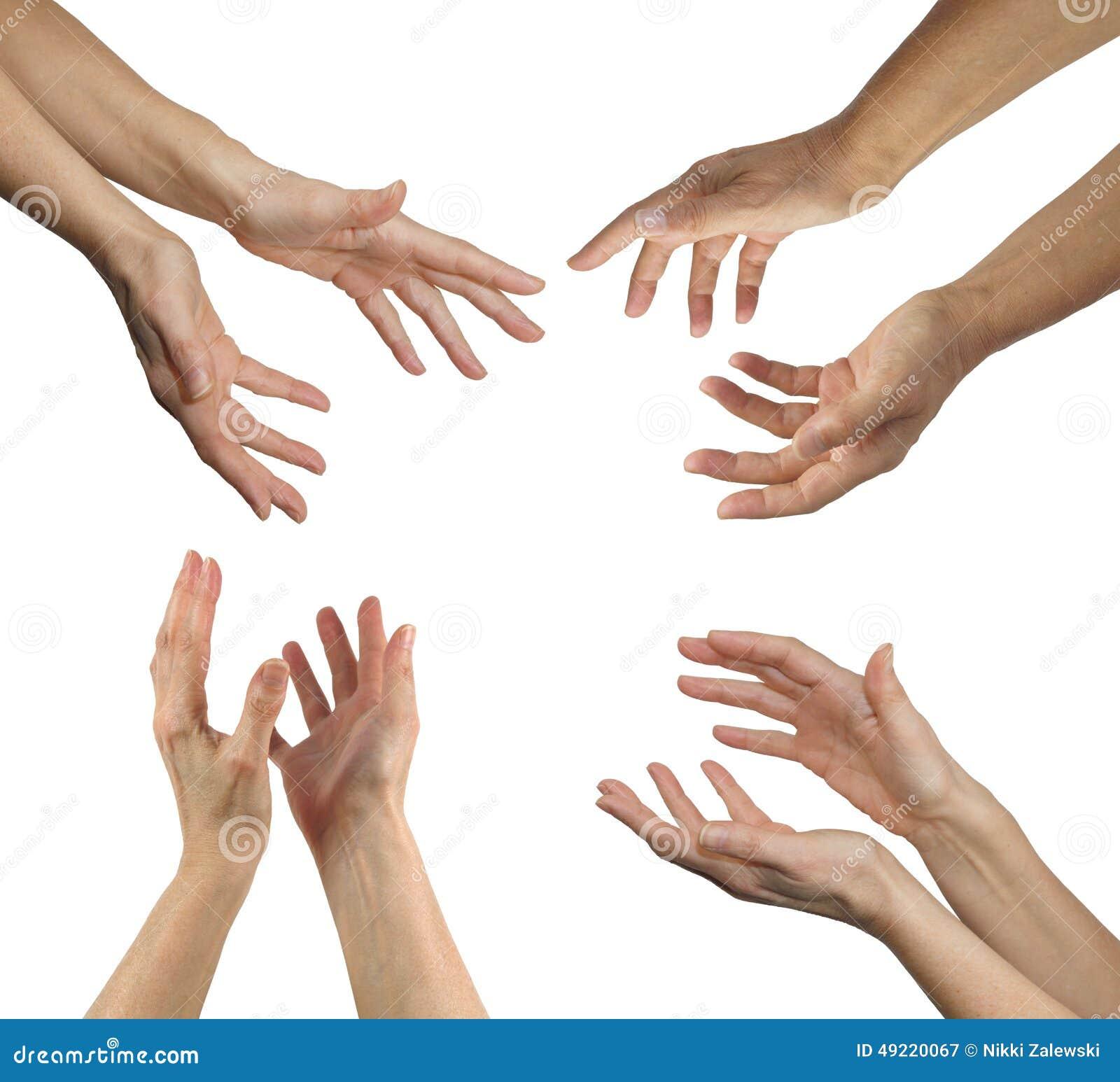 Le mani del guaritore in quattro posizioni