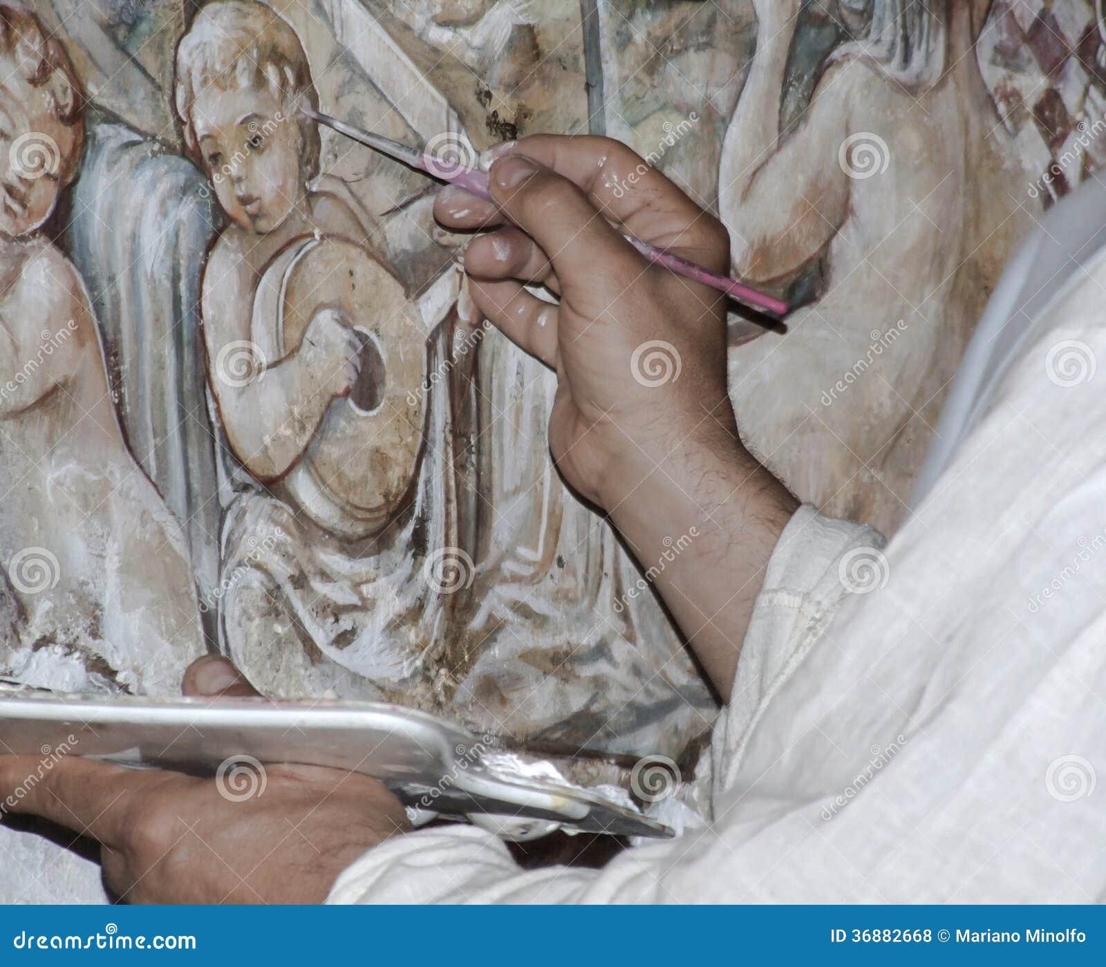 Download Le mani del pittore fotografia stock. Immagine di mani - 36882668