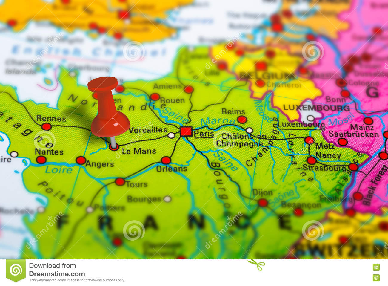 Geographical Map Of France.Le Mans France Map Stock Photo Image Of France Geographical 80951916