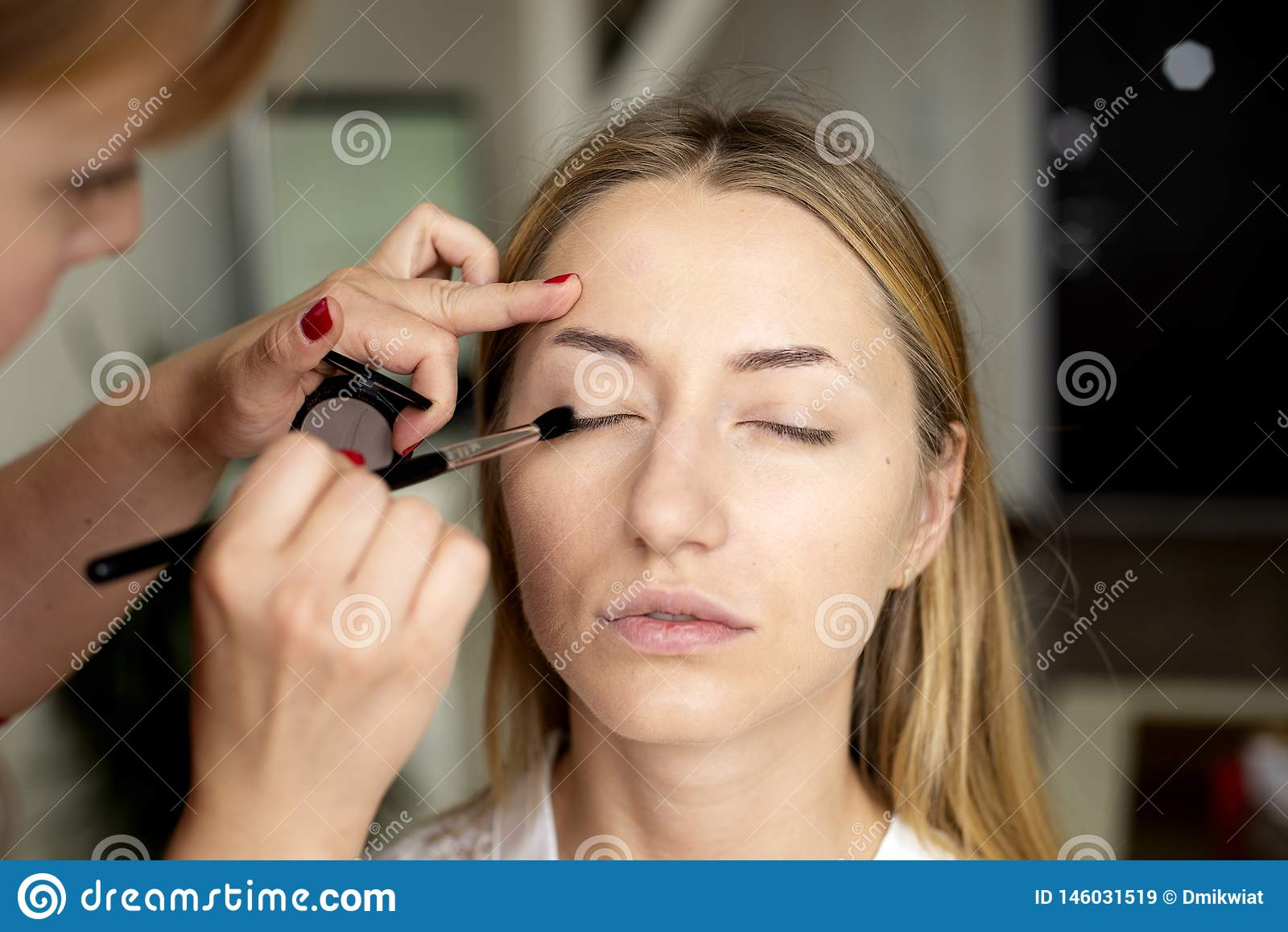 Le maquilleur met le maquillage sur le visage de la fille