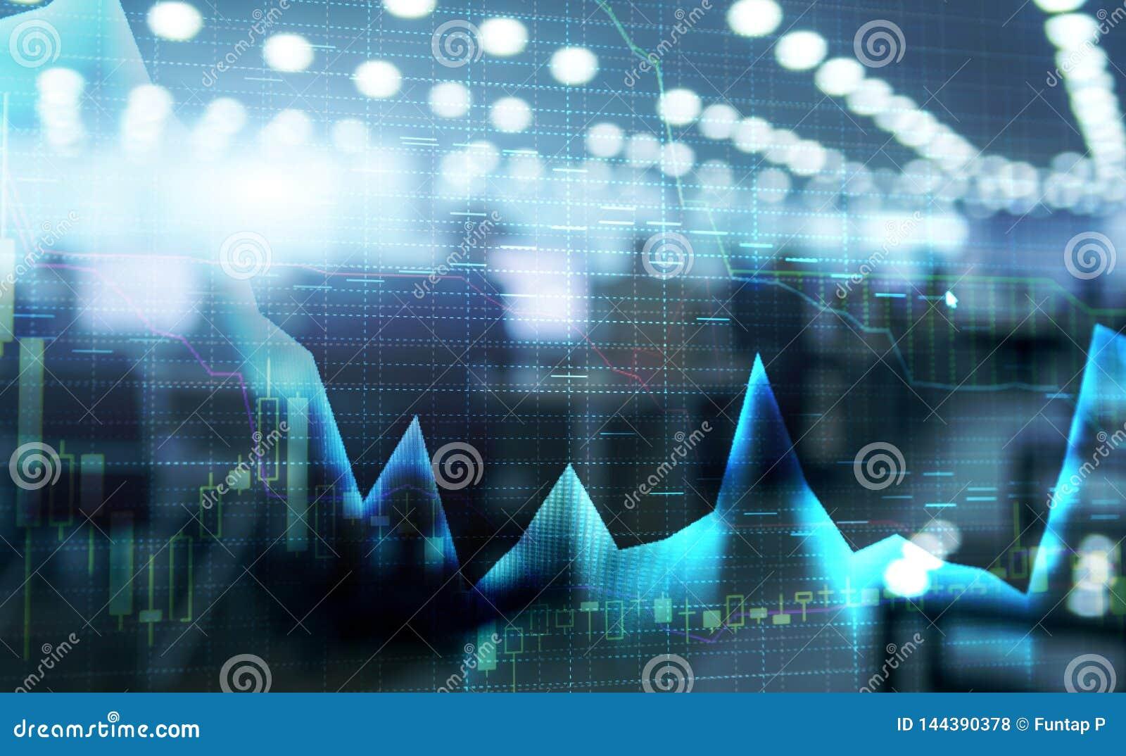 Le marché boursier cite le graphique Graphique de double exposition et de marché boursier ou de forex approprié au concept financ
