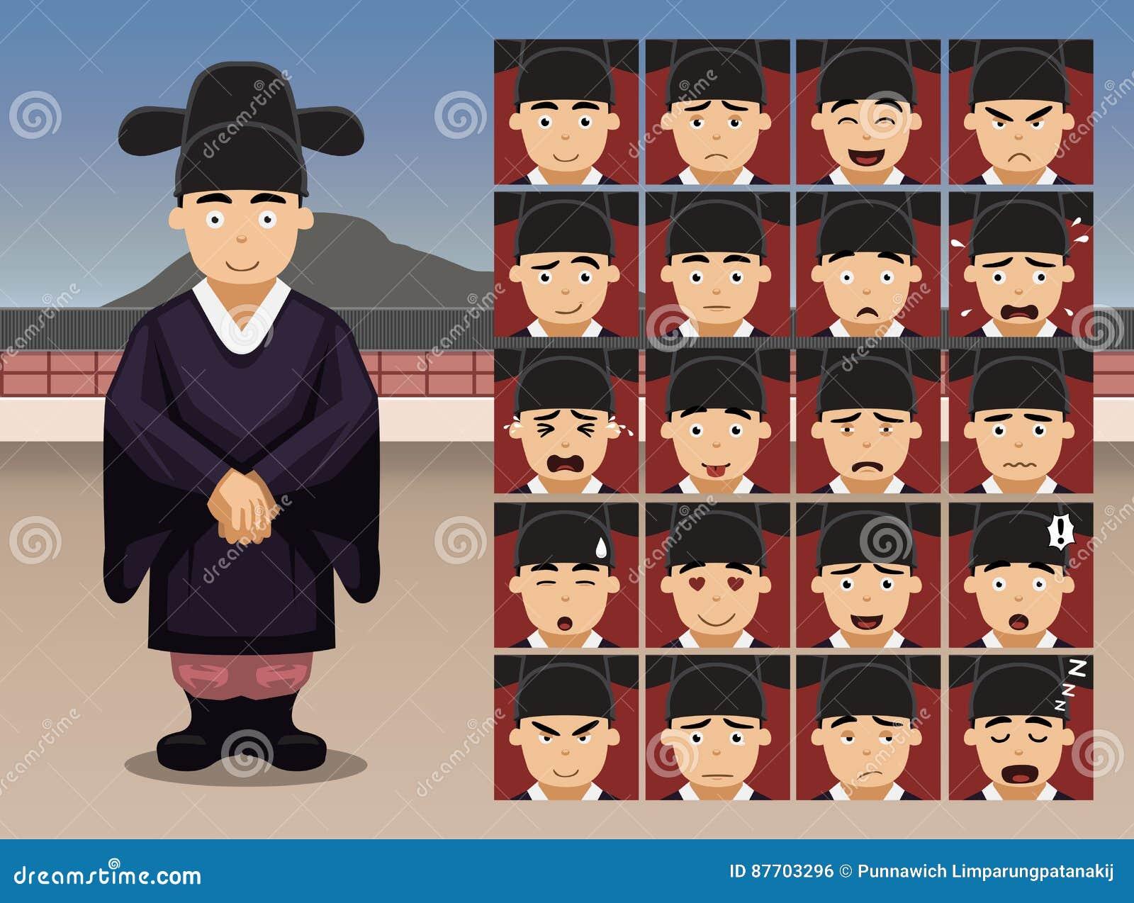 Le marié coréen Cartoon Emotion de mariage fait face à l illustration de vecteur