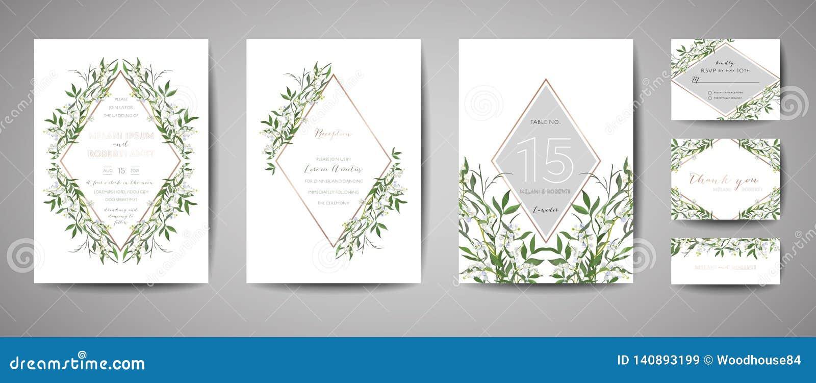 Le mariage de luxe de cru de fleur font gagner la date, collection florale de cartes d invitation avec le cadre de feuille d or C