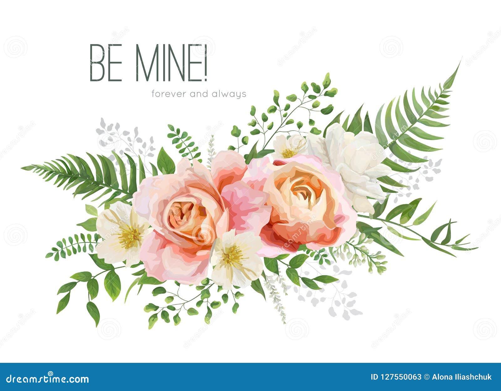 Le mariage de vecteur invitent, design de carte de salutation avec le watercol floral