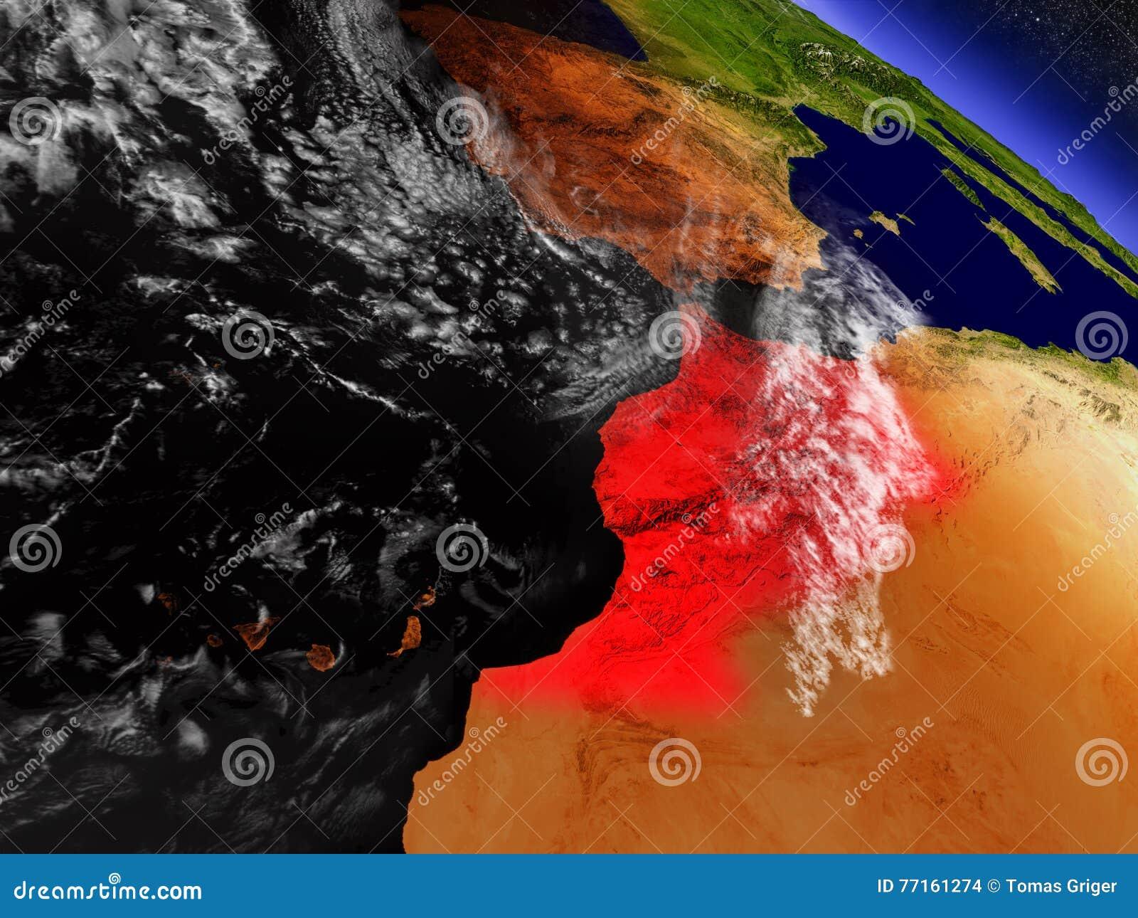Le Maroc de l espace accentué en rouge