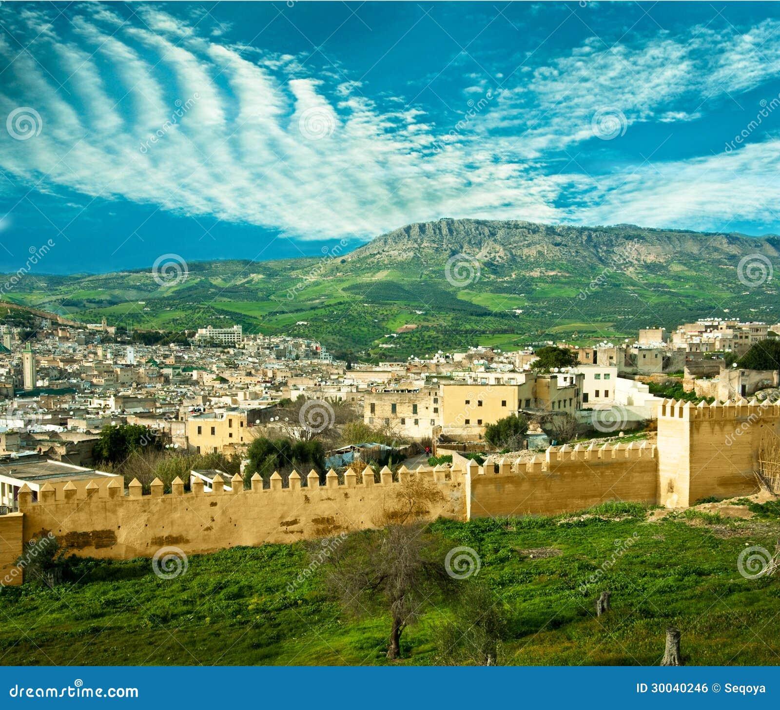 Le maroc un paysage d 39 un mur de ville photo stock image for Paysage de ville