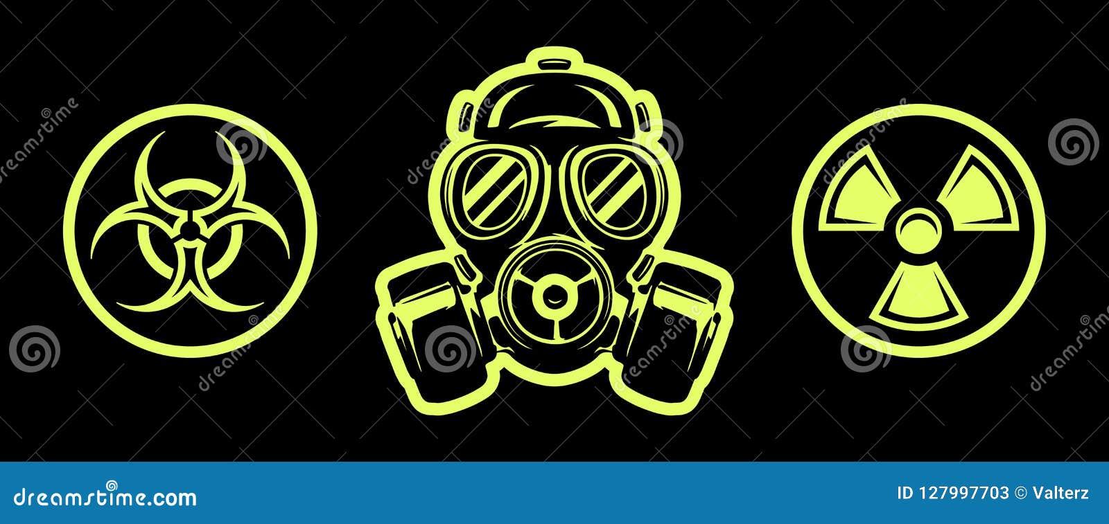 Le masque et le risque de gaz chante respirateur Signe de rayonnement Signe de Biohazard