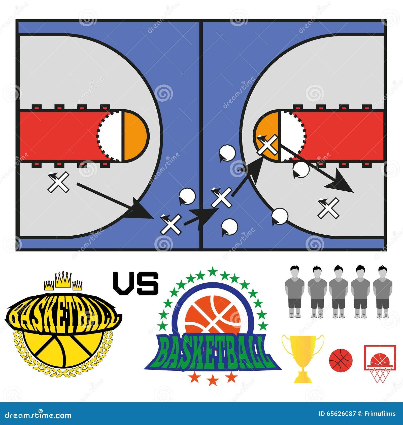 Le match de basket objecte des icônes