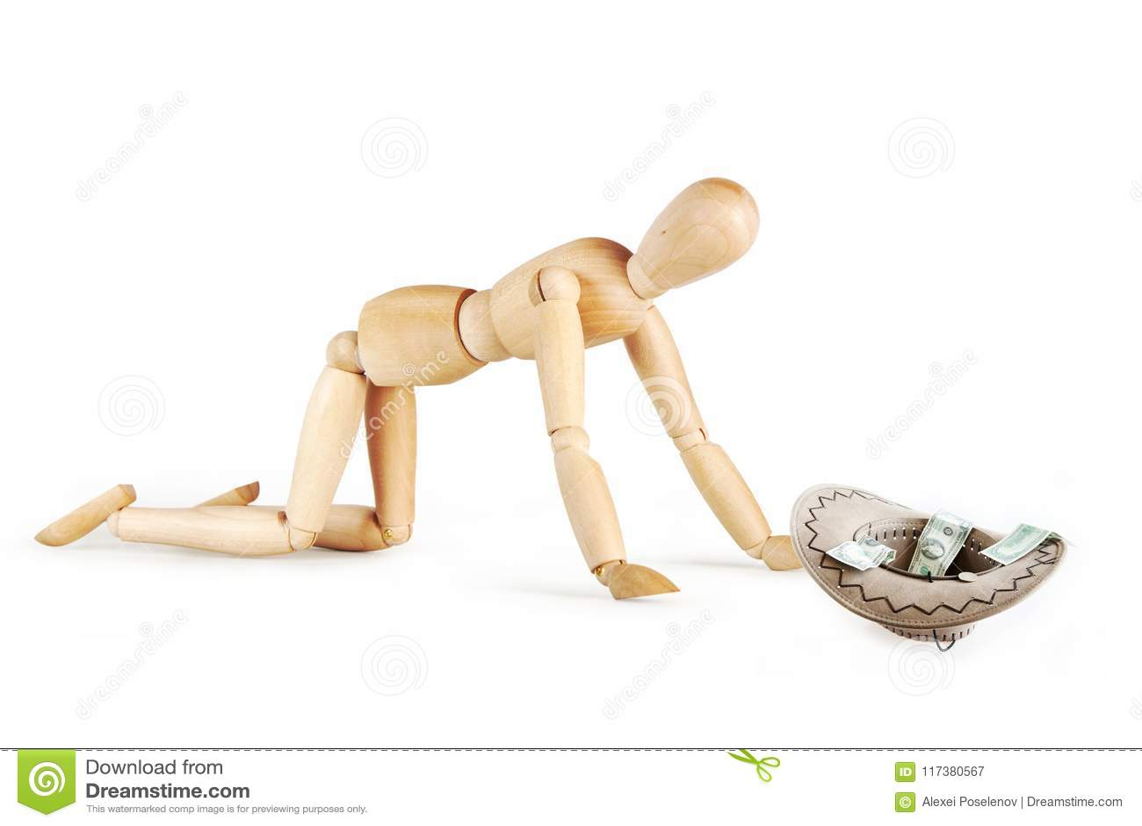Le mendiant prie pour l aumône sur ses genoux
