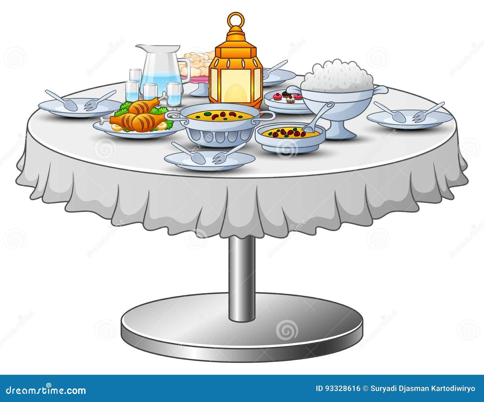 Le menu délicieux pour la partie iftar sont sur la table
