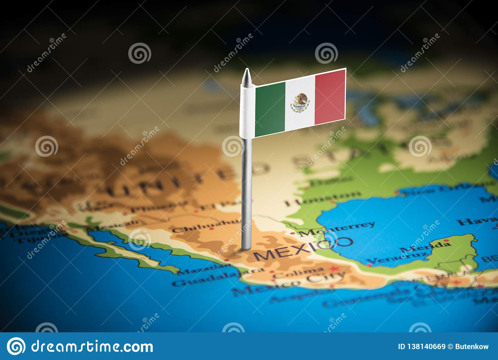 Le Mexique a identifié par un drapeau sur la carte