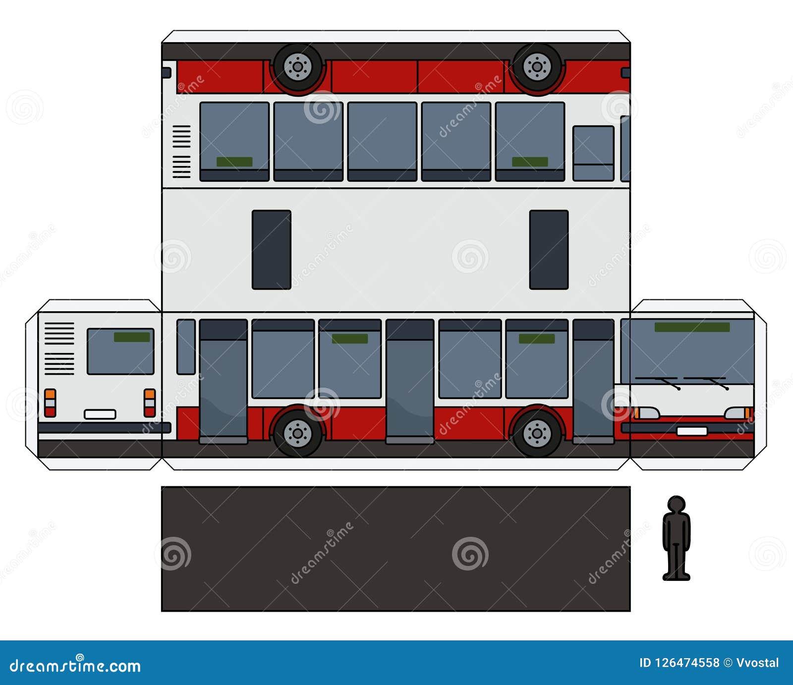 Le modèle de papier d un autobus de ville