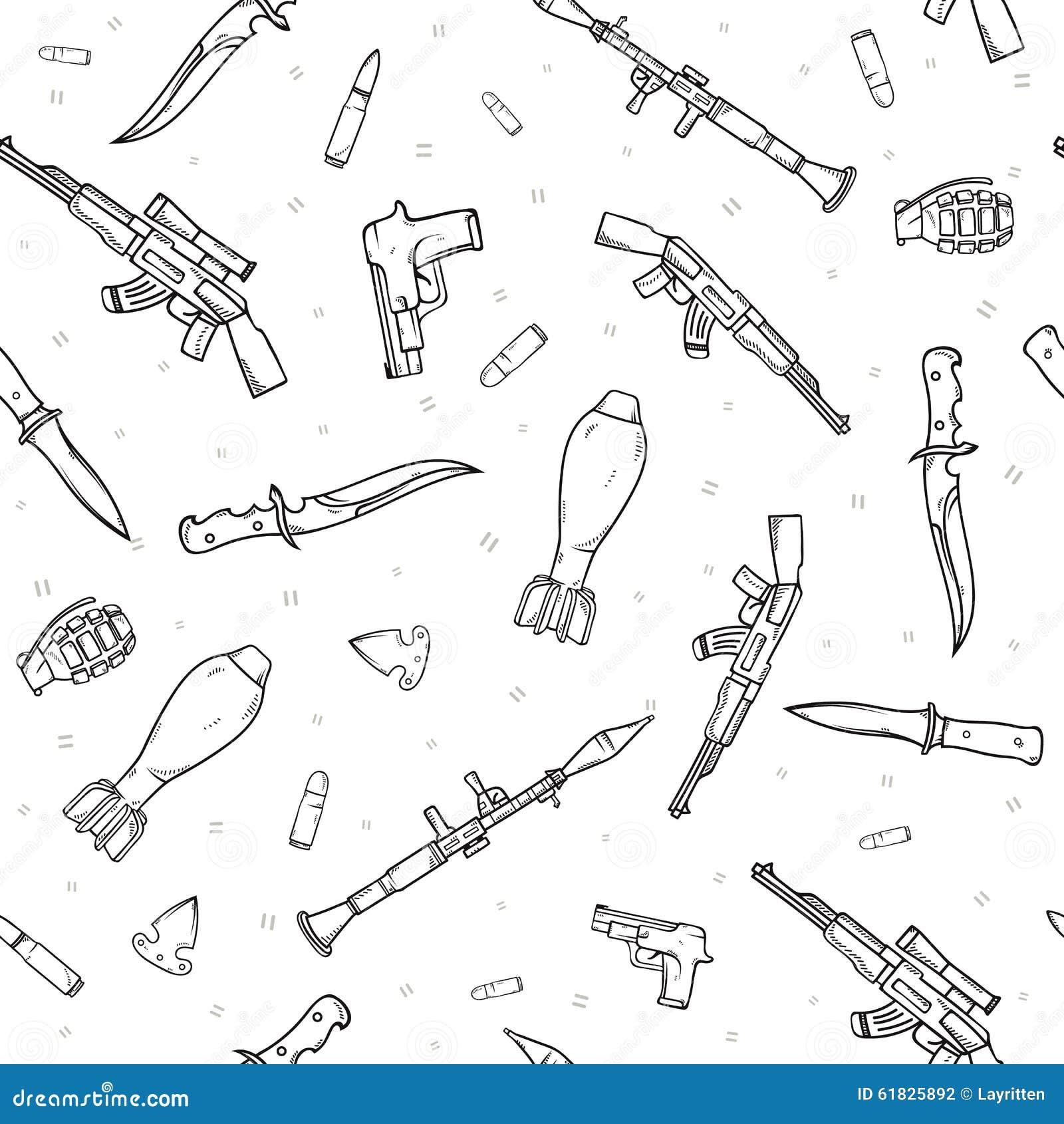 Le modèle sans couture avec l arme différente a dispersé par griffonnage Bombes faites main