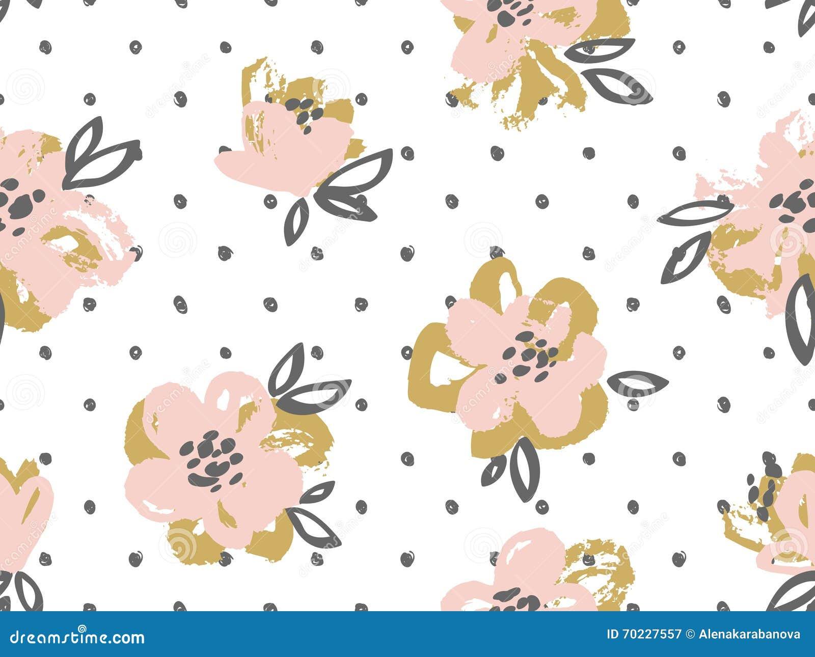 Le modèle sans couture avec le rose et l or fleurit sur le fond de point de polka