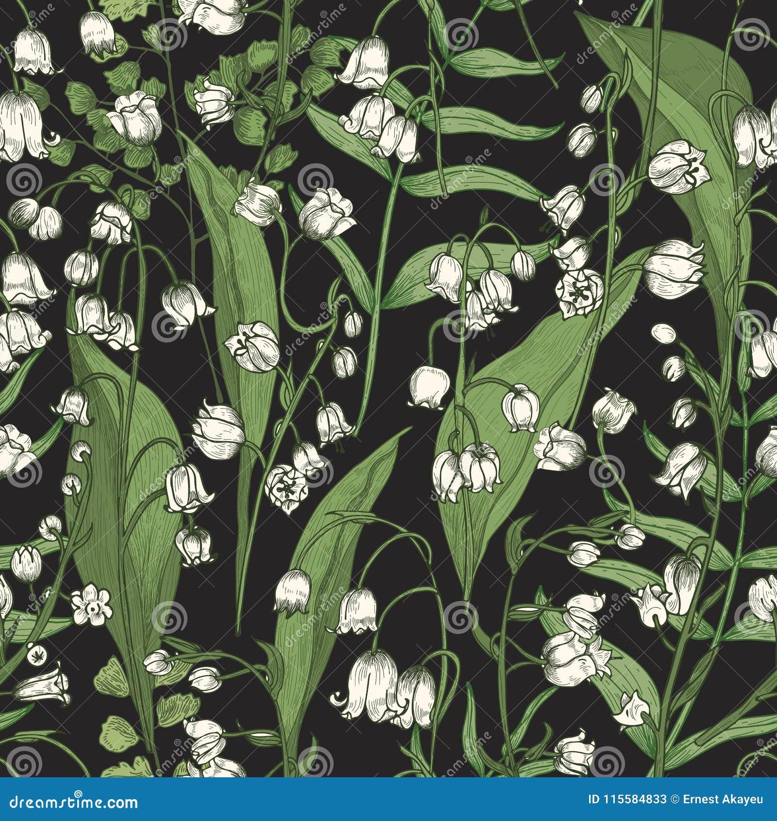 Le modèle sans couture botanique avec le beau muguet de floraison fleurit sur le fond noir Contexte naturel avec