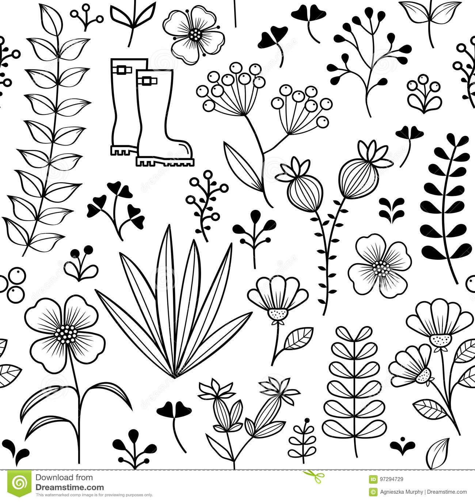 Le modèle sans couture botanique, les fleurs sauvages tirées par la main et les herbes conçoivent, wallpaper