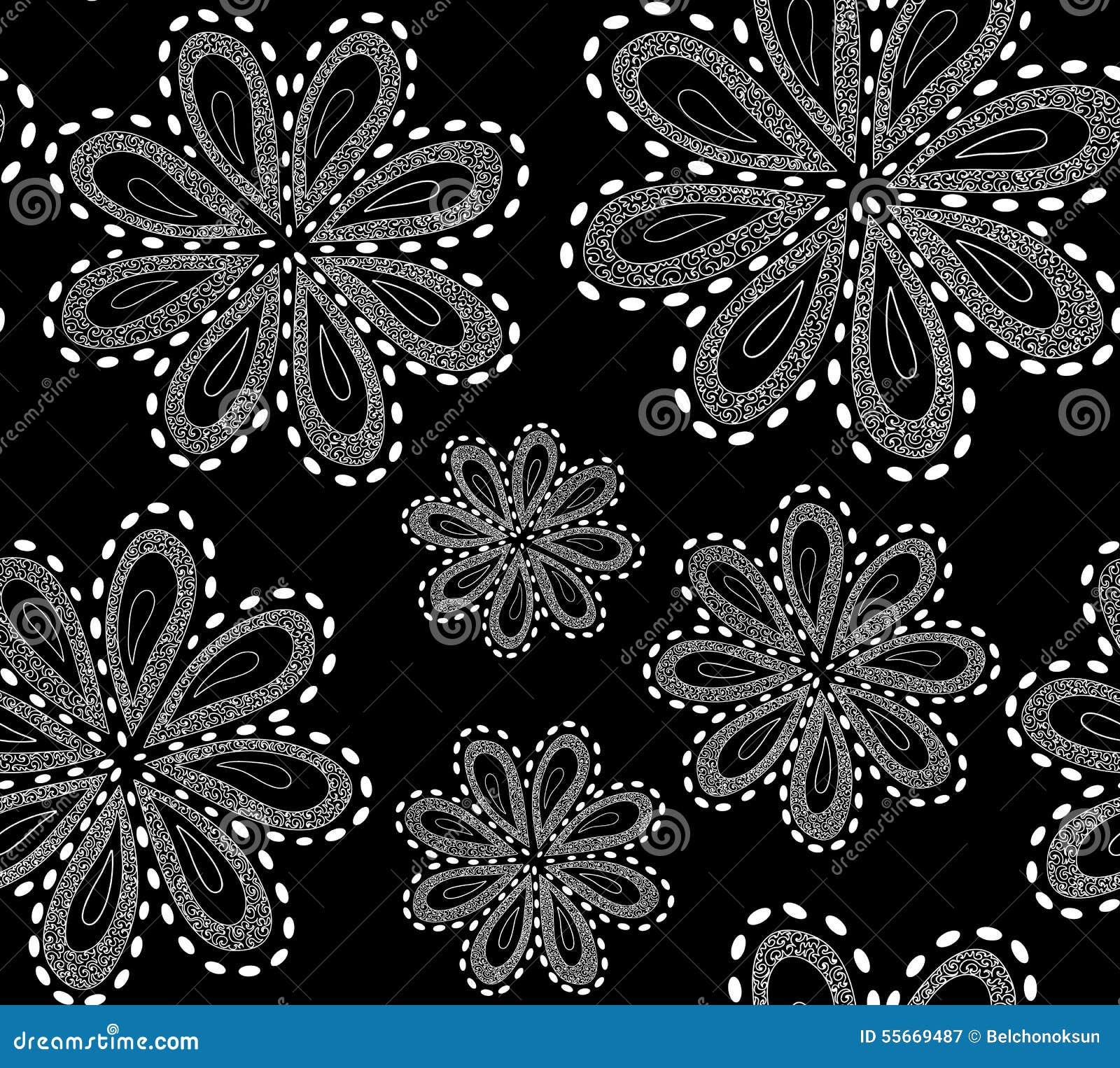 Le modèle sans couture de beau vecteur noir et blanc avec l ornamental a figuré des fleurs