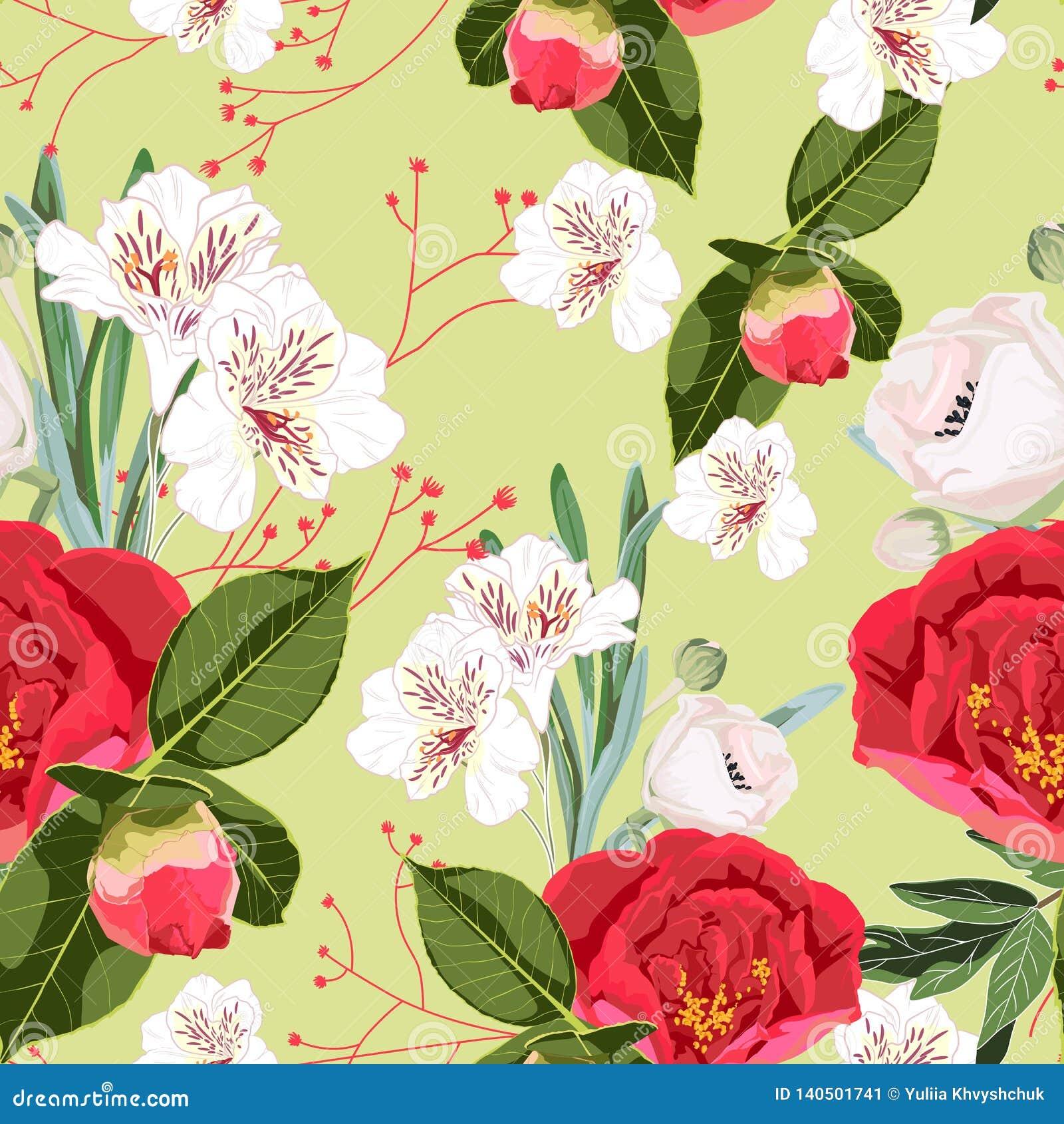 Le modèle sans couture de fleur avec les pivoines rouges de flore sauvage tirée par la main bourgeonnent et les lis blancs