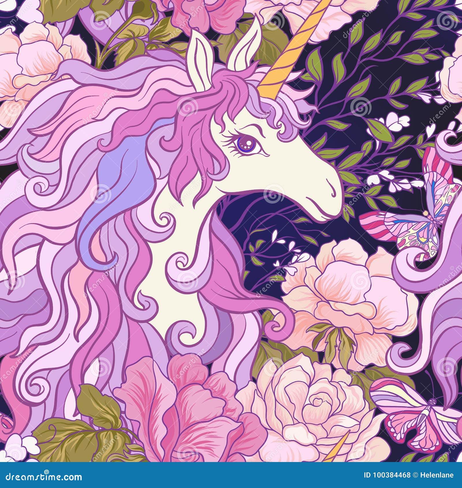 Le modèle sans couture de licorne, de roses et de papillons dans le rose, pur