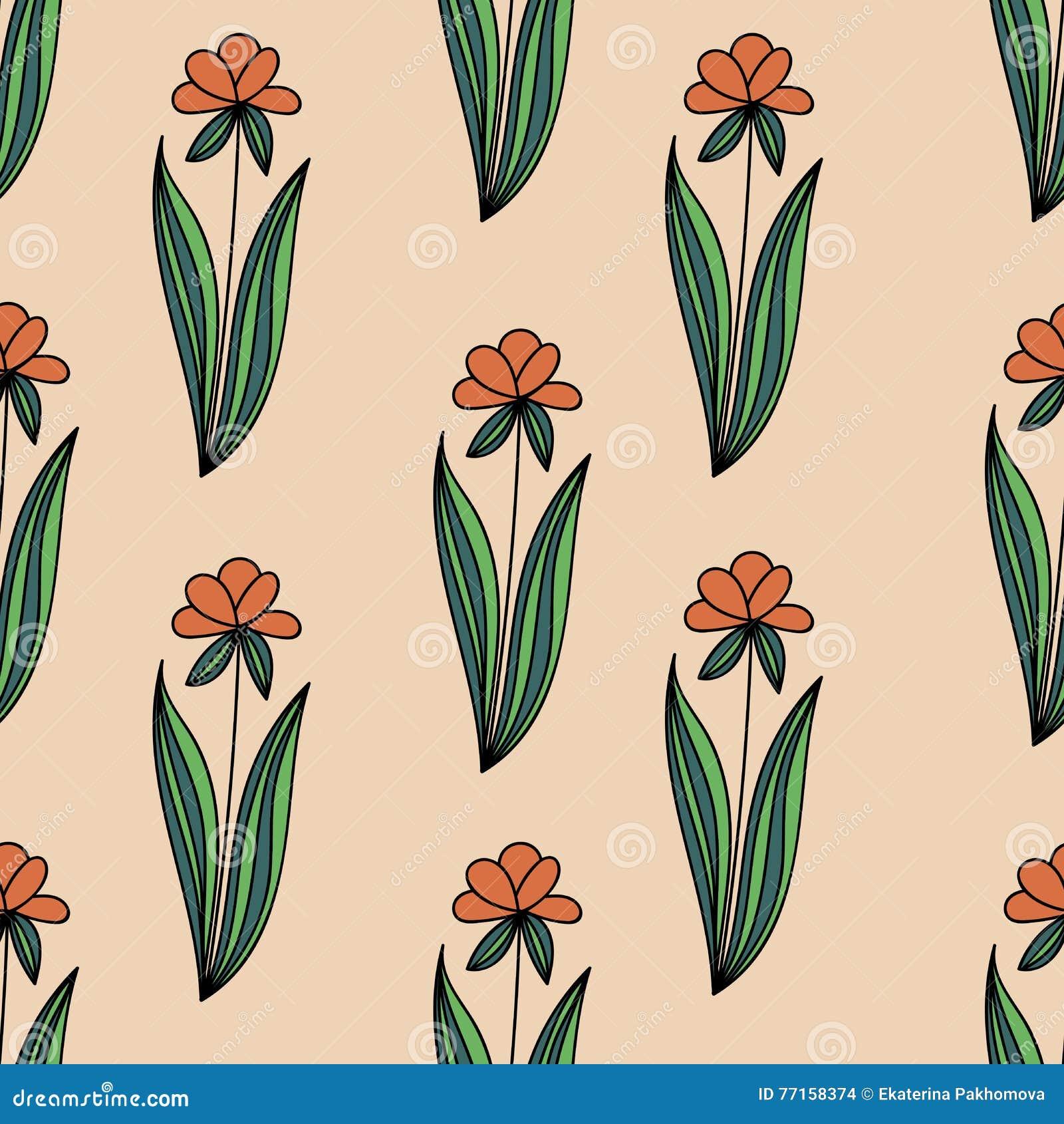 Le modèle sans couture floral avec les fleurs oranges de griffonnage avec le vert part sur le fond beige