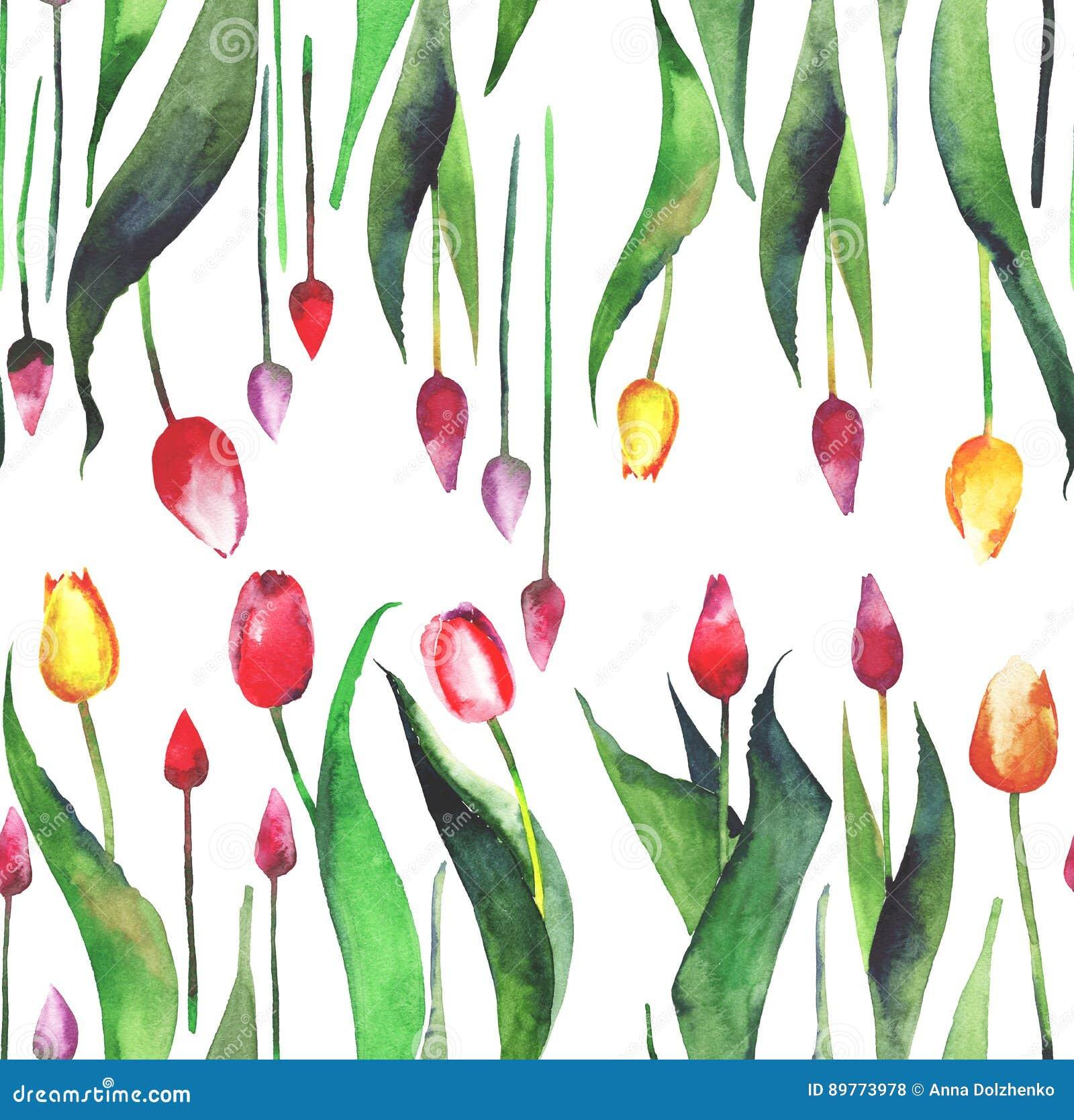 Le modèle vertical de beau beau ressort lumineux de la lavande pourpre rose jaune rouge de tulipes fleurit l aquarelle