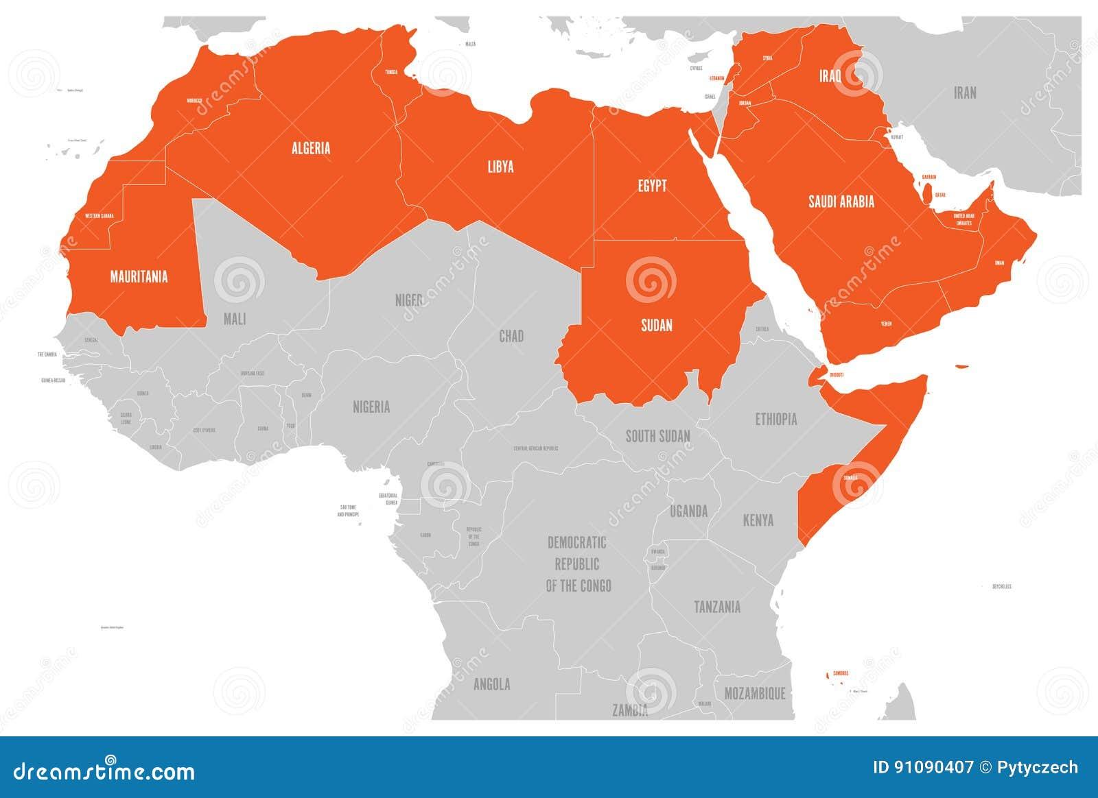 Carte De Lafrique Du Nord Avec Les Pays.Le Monde Arabe Enonce La Carte Politique Avec Higlighted 22