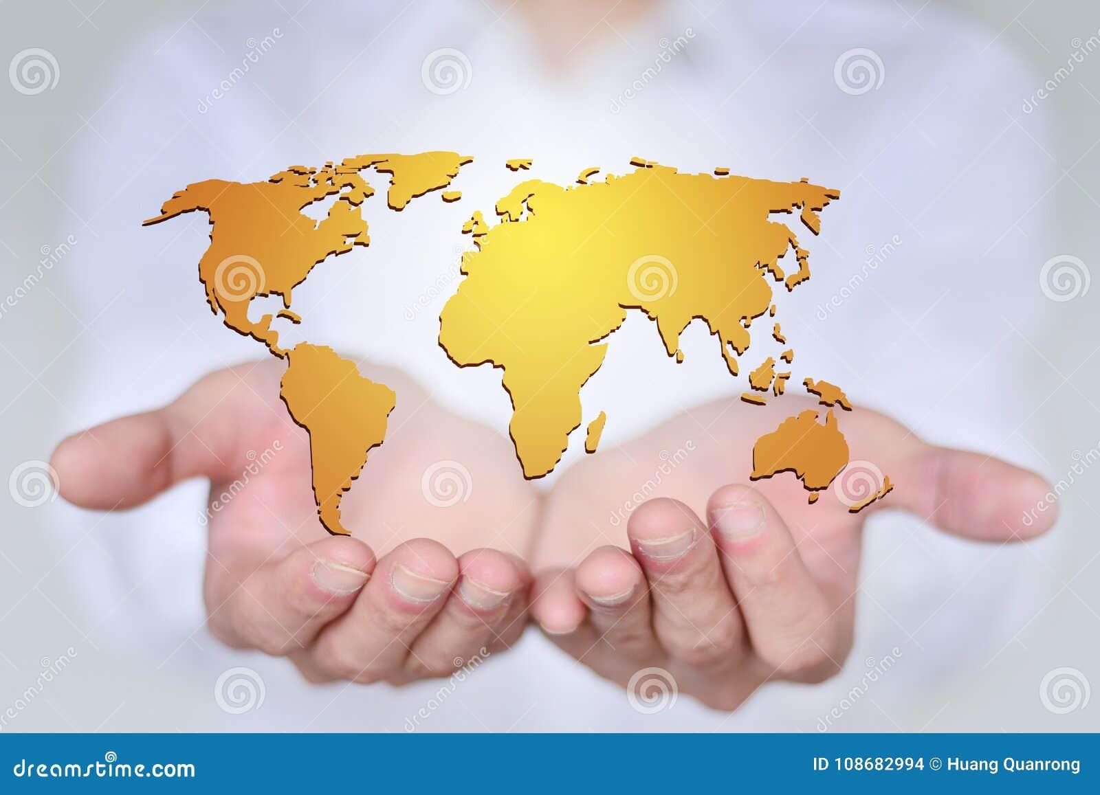 Le monde est dans des vos mains, le concept de la carte créative