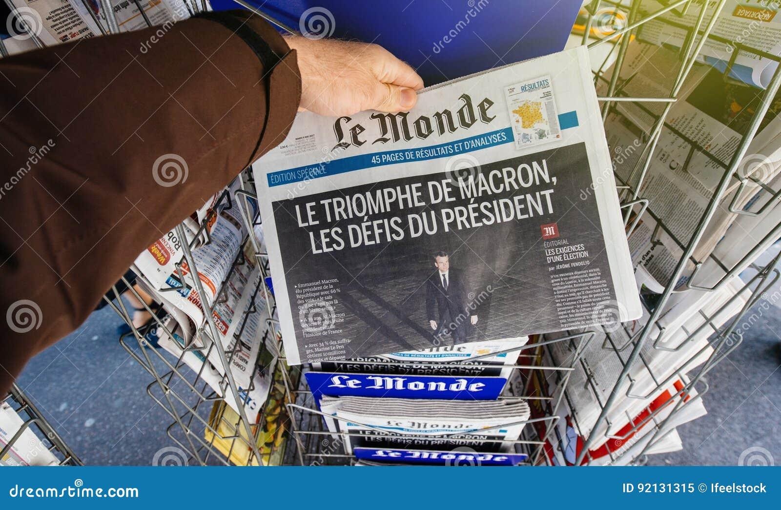 Le Monde met Voorzitters` s Uitdagingen Emmanuel Macron na verkiest