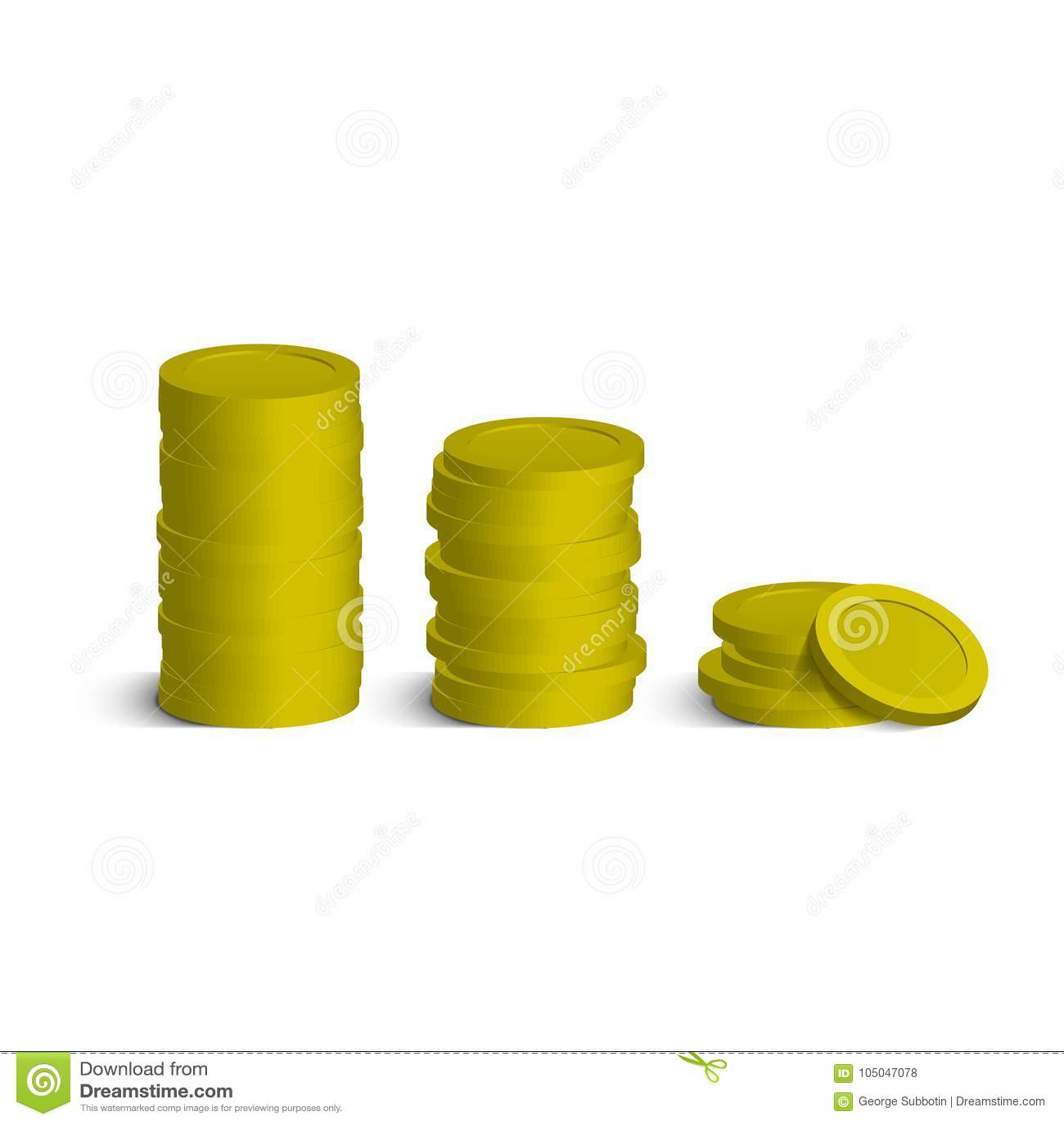 Le monete impilano con le ombre isolate su bianco