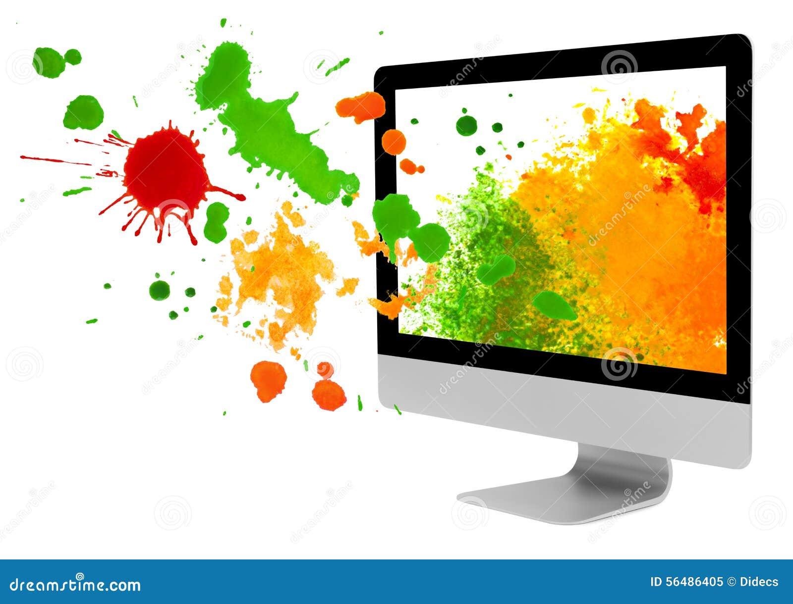Le moniteur d ordinateur avec la peinture éponge et éclabousse sur le fond blanc