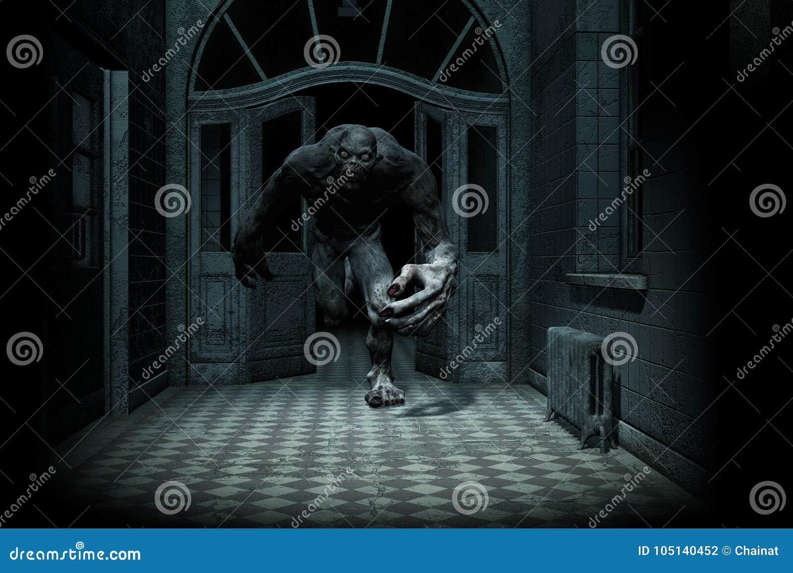 Le monstre effrayant sortent de l obscurité