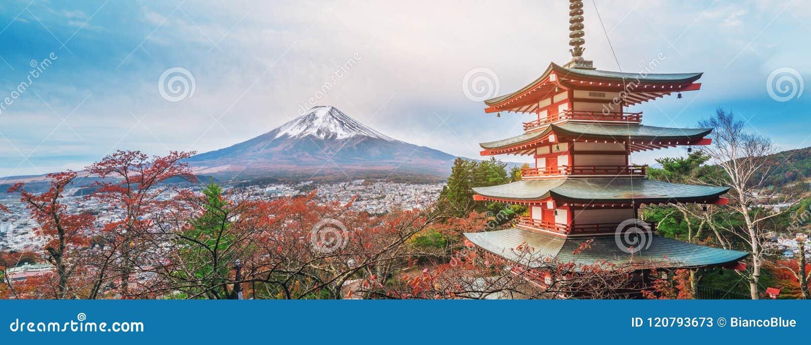 Le mont Fuji, pagoda de Chureito en automne
