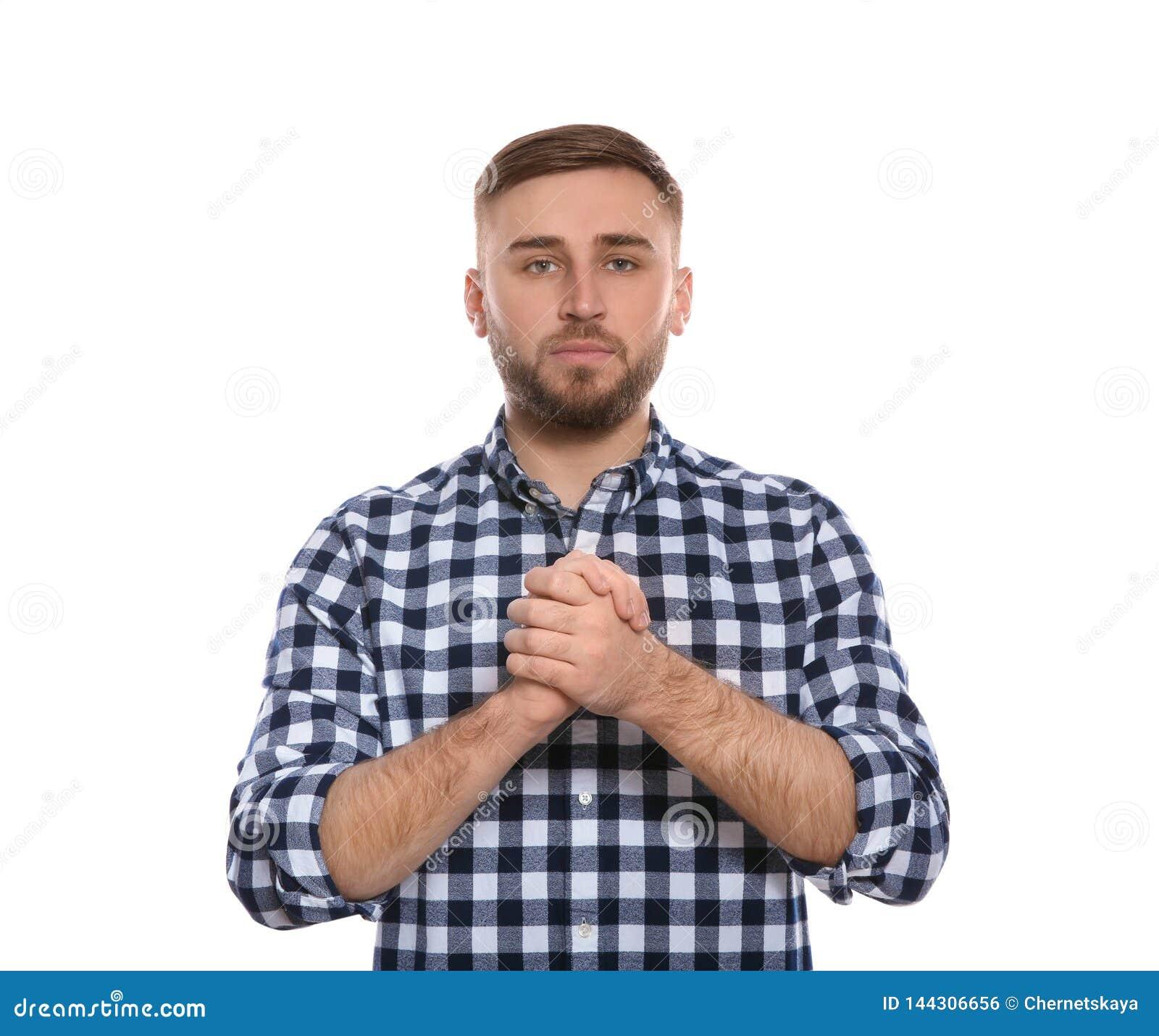 Le mot CROIENT d apparence d homme dans la langue des signes sur le blanc