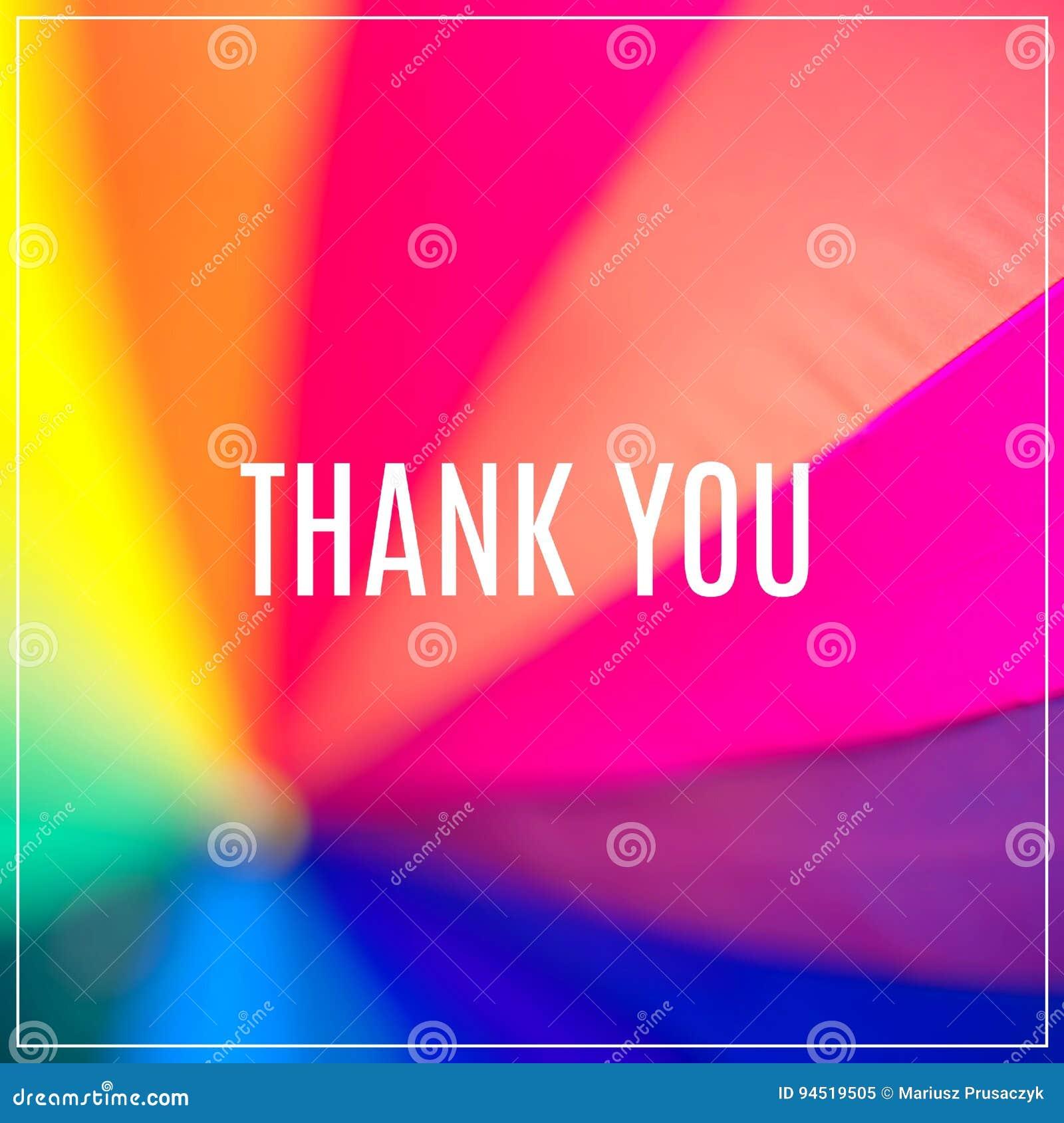 Le mot vous remercient Parapluie coloré par arc-en-ciel