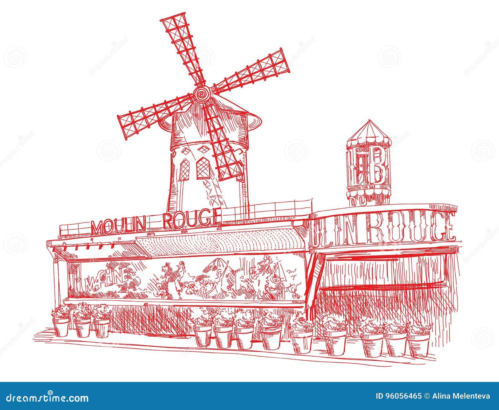 Le Moulin rouge dans des couleurs rouges